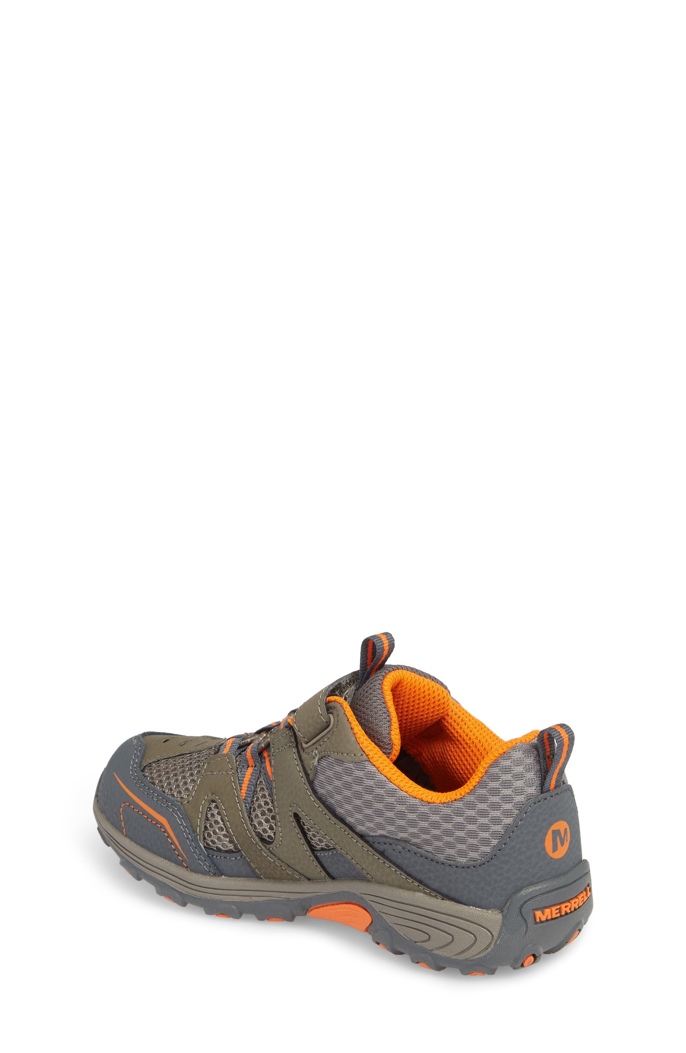MERRELL, Trail Chaser Sneaker, Alternate thumbnail 2, color, GUNSMOKE/ ORANGE