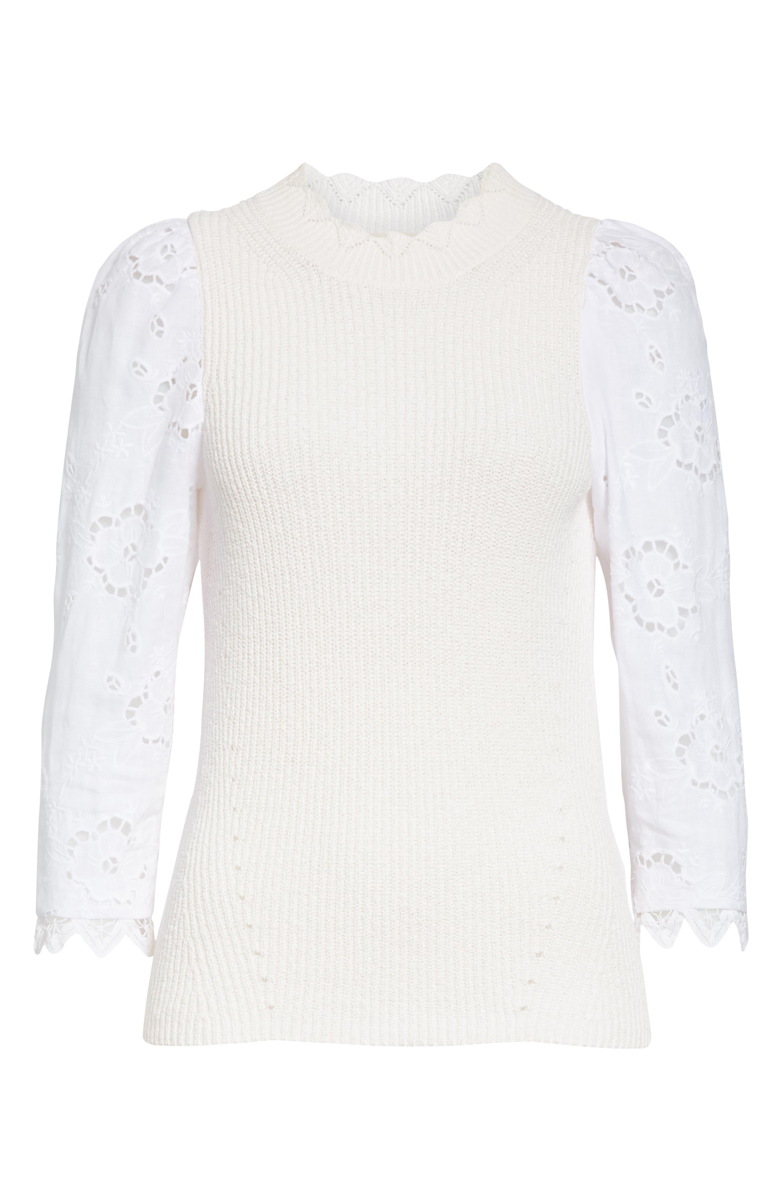REBECCA TAYLOR, Mix Media Eyelet Sleeve Cotton Sweater, Alternate thumbnail 6, color, WASHED PETAL