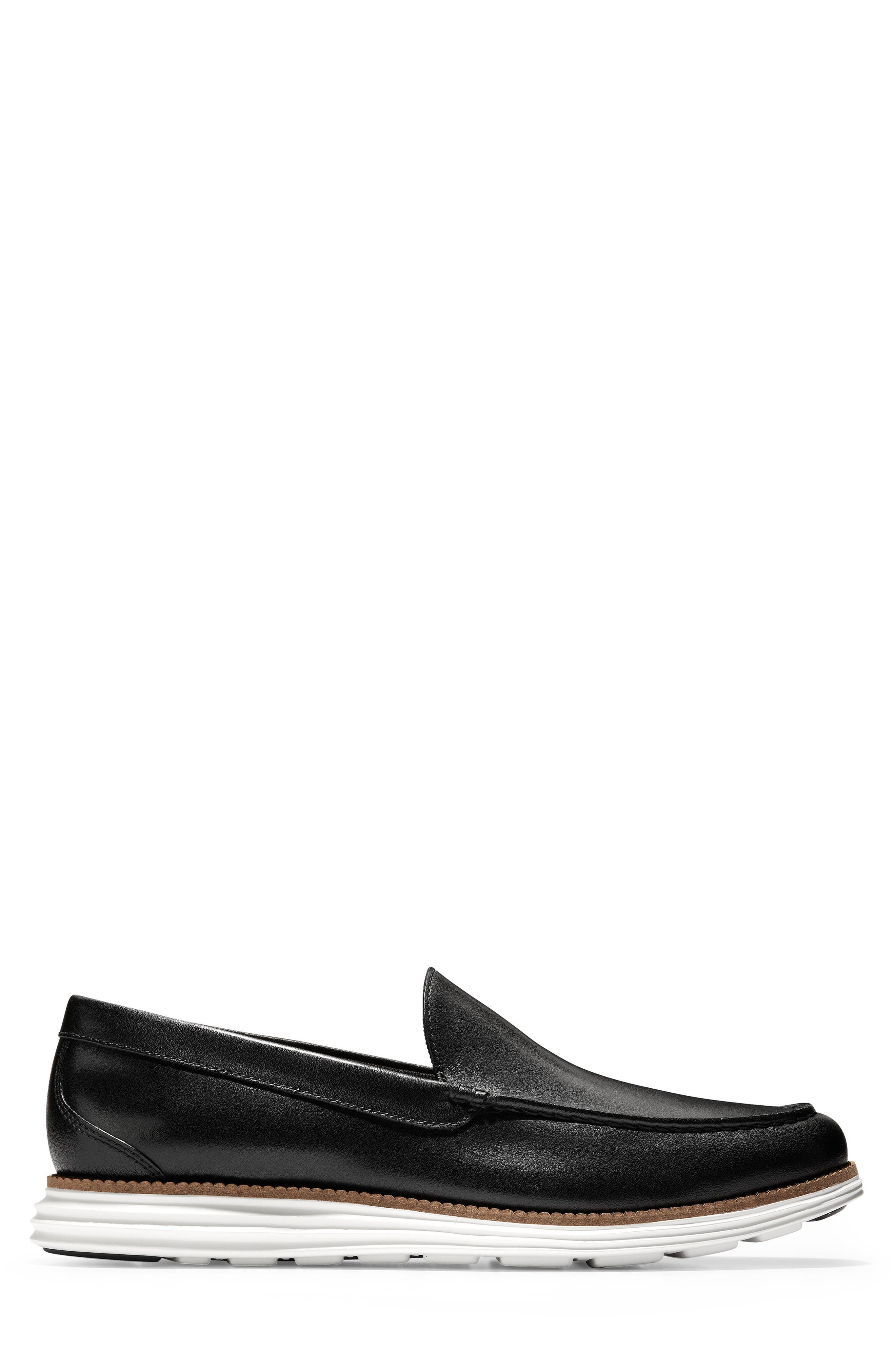 COLE HAAN, Original Grand Loafer, Alternate thumbnail 3, color, BLACK/ OPTIC WHITE LEATHER