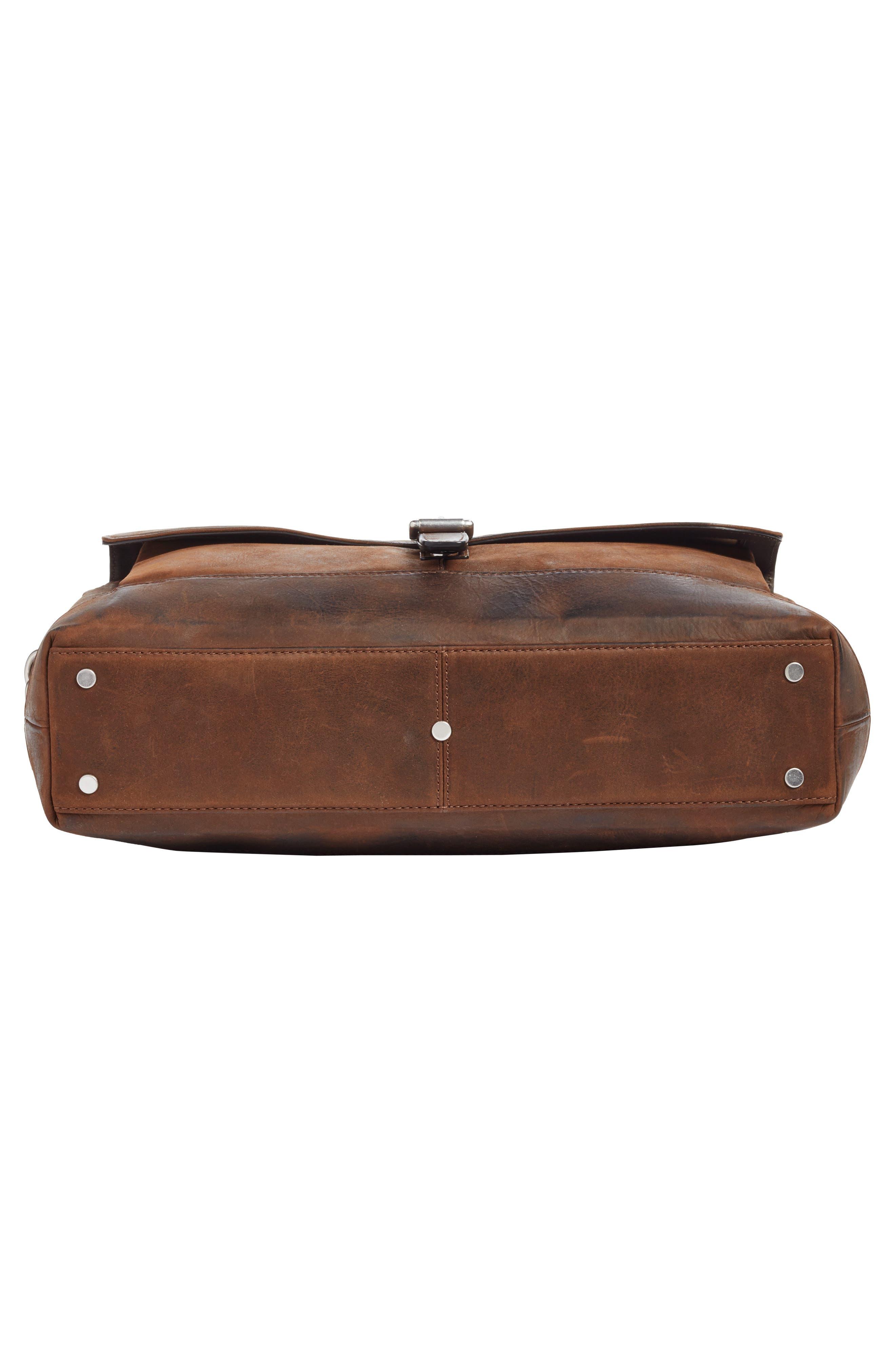 FRYE, Oliver Leather Briefcase, Alternate thumbnail 6, color, DARK BROWN