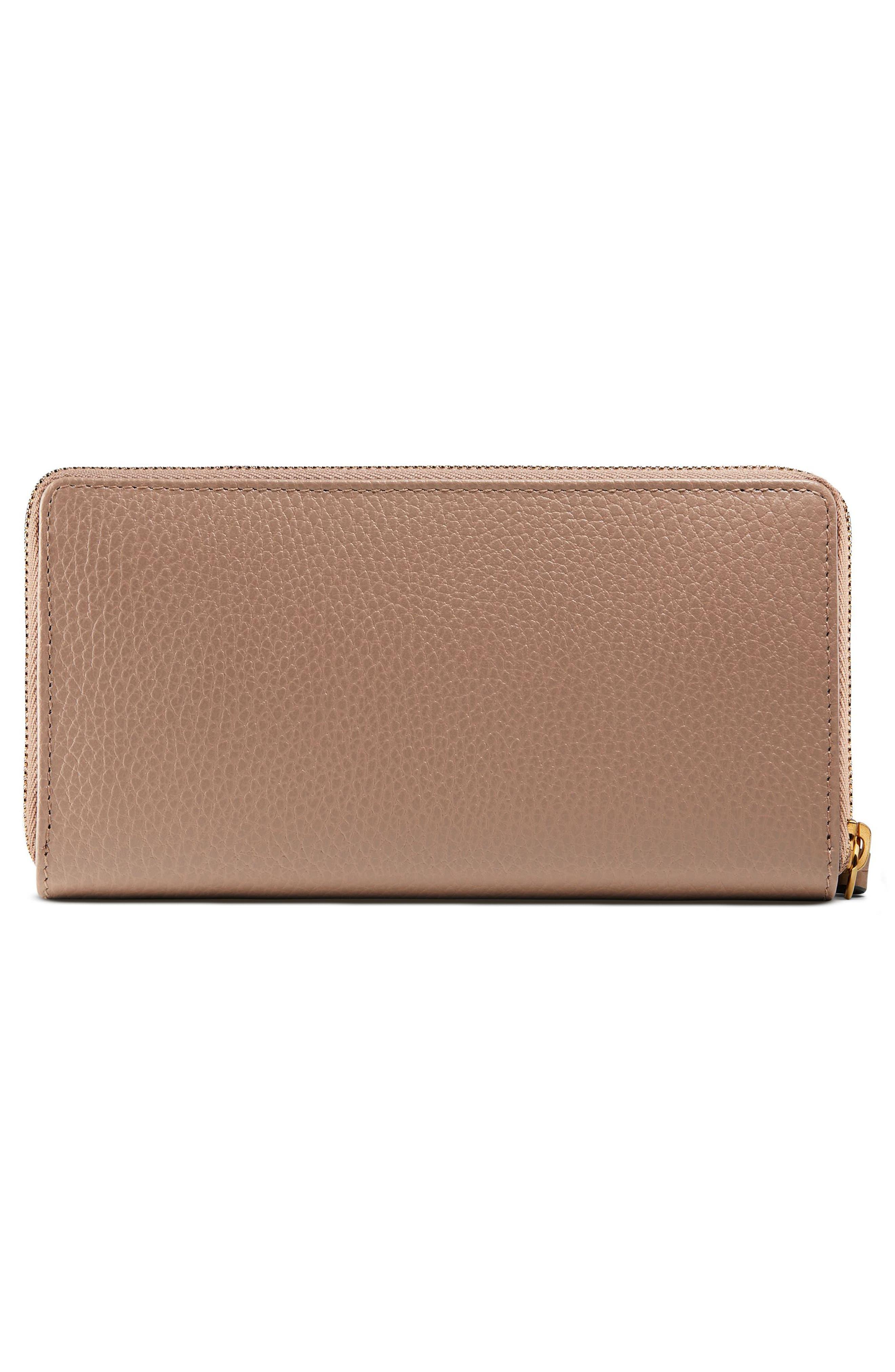 GUCCI, Petite Marmont Leather Zip Around Wallet, Alternate thumbnail 3, color, PORCELAIN ROSE