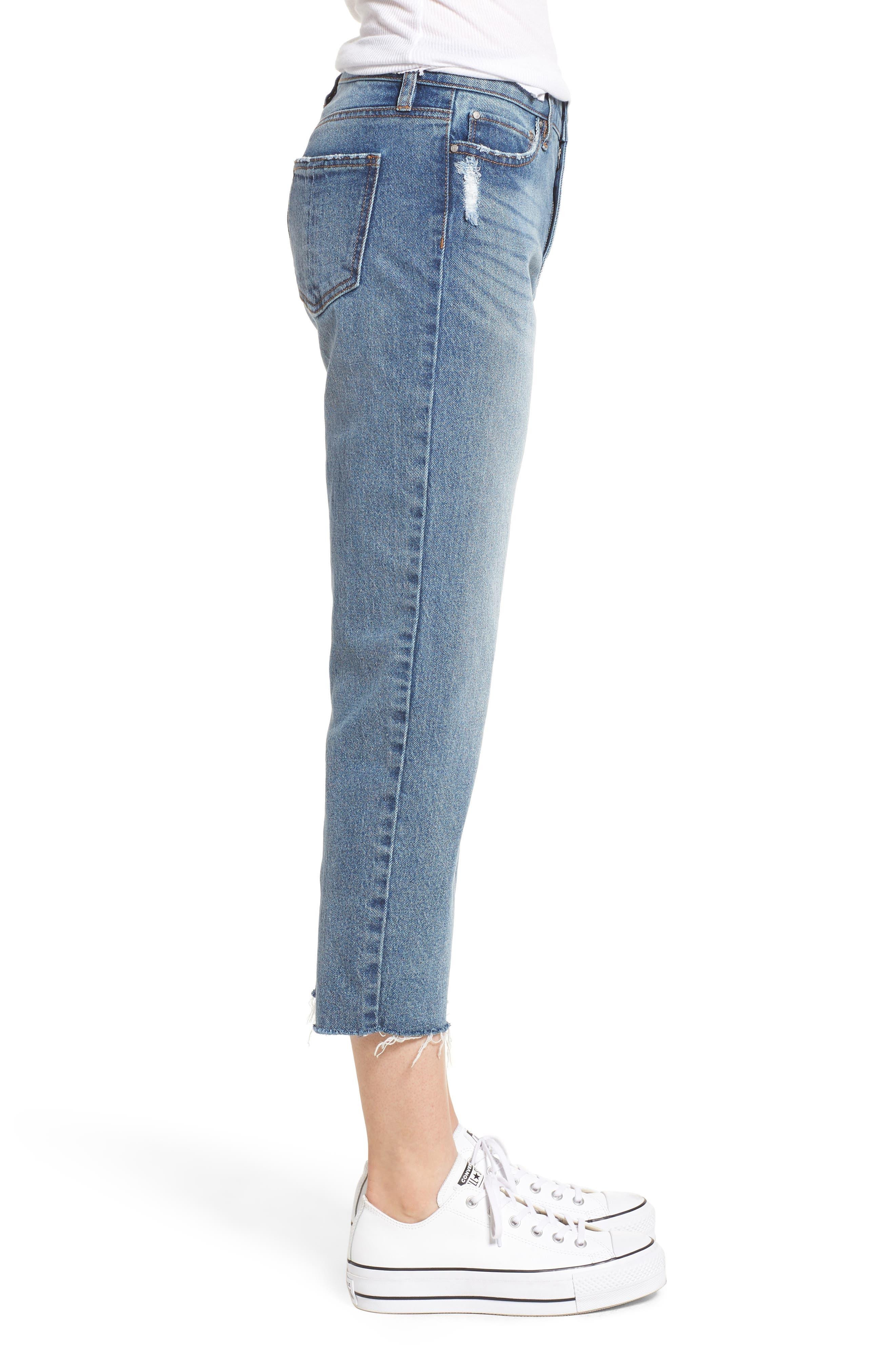 PROSPERITY DENIM, Crop Straight Leg Jeans, Alternate thumbnail 4, color, MED WASH
