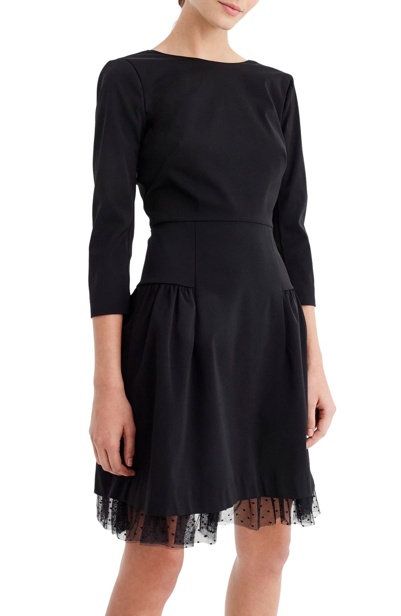 J.CREW, Tulle Hem Sheath Dress, Main thumbnail 1, color, 001