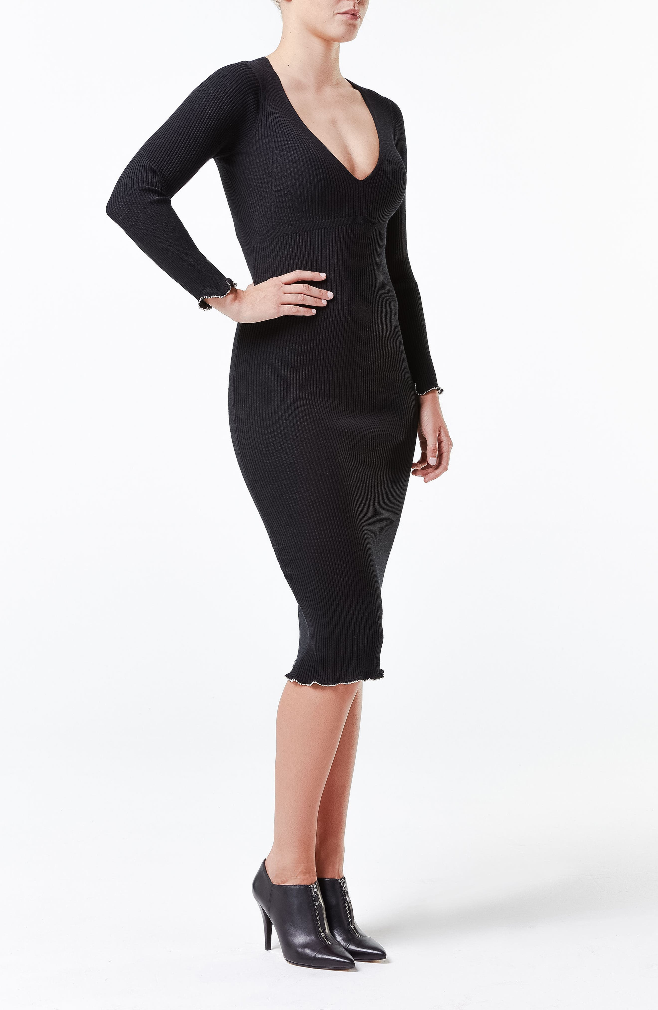 SPANX<SUP>®</SUP>, Suit Your Fancy Plunge Low-Back Mid-Thigh Bodysuit, Alternate thumbnail 9, color, VERY BLACK