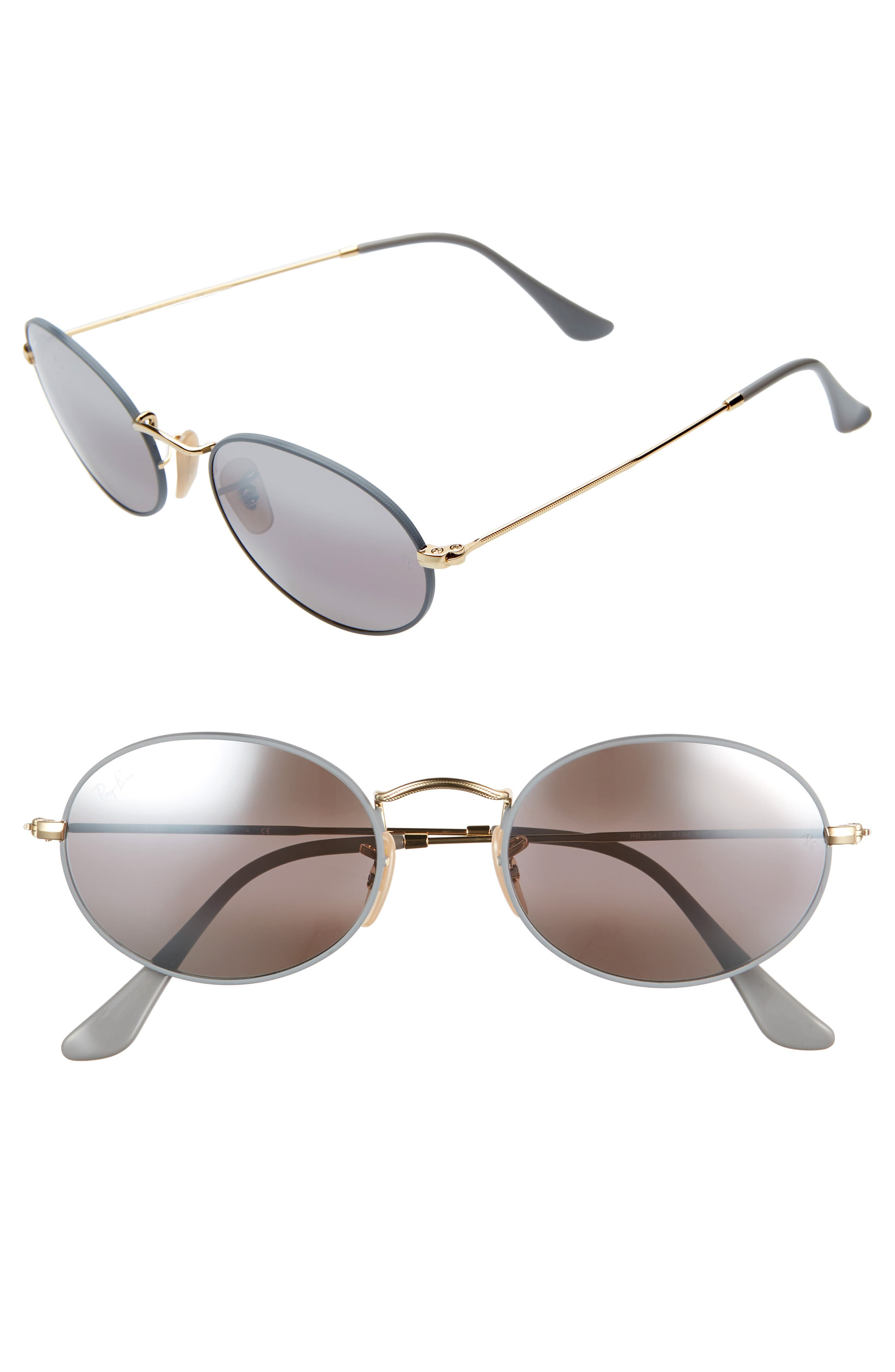 RAY-BAN, 54mm Oval Sunglasses, Main thumbnail 1, color, GOLD GREY