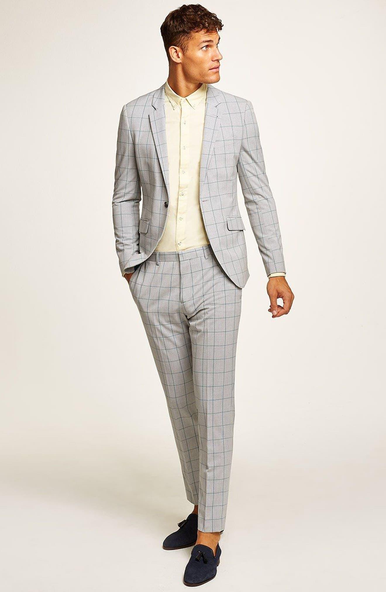 TOPMAN, Muscle Fit Check Suit Trousers, Alternate thumbnail 5, color, 300