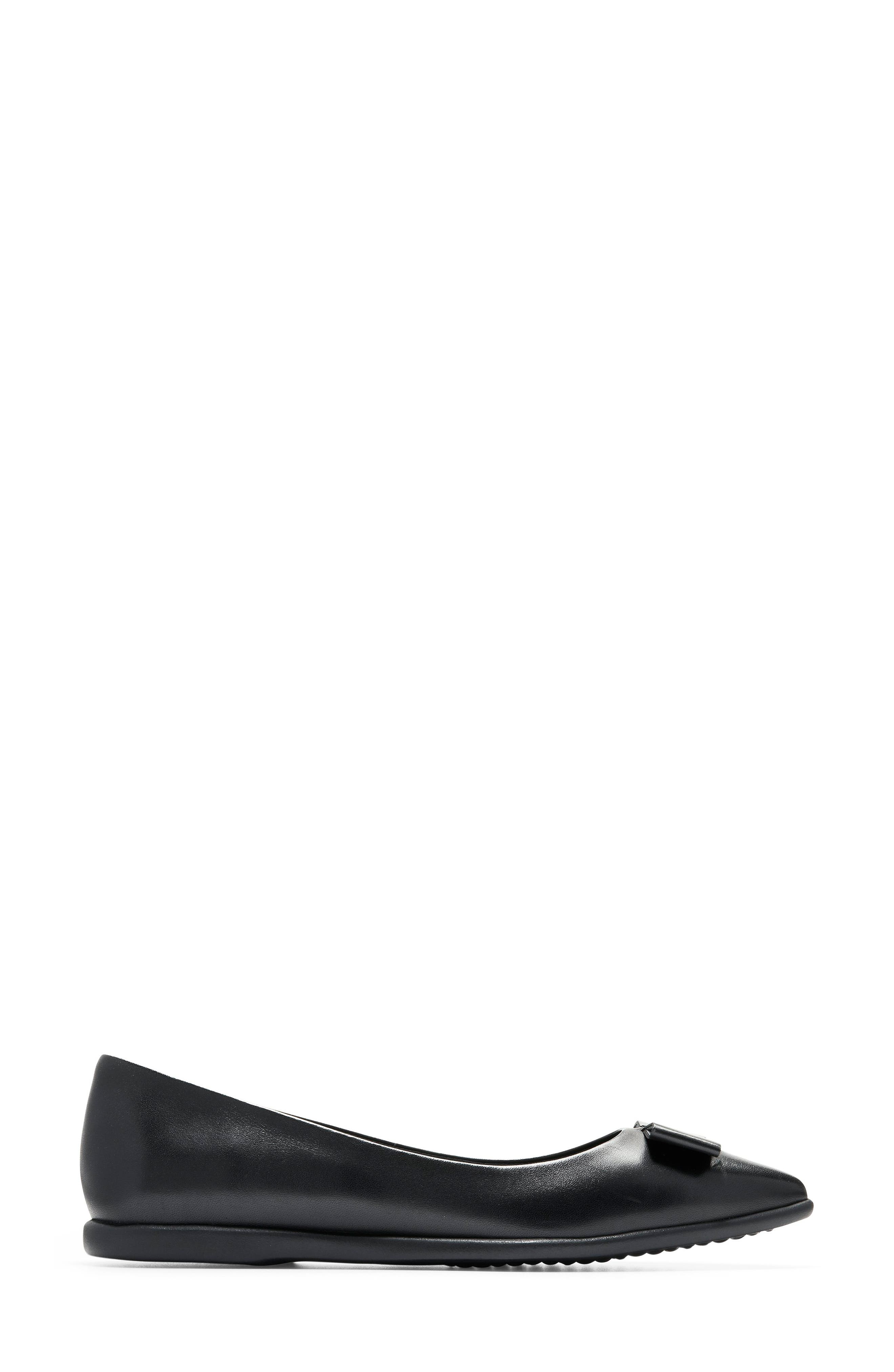 COLE HAAN, 3.ZeroGrand Skimmer Flat, Alternate thumbnail 3, color, BLACK LEATHER