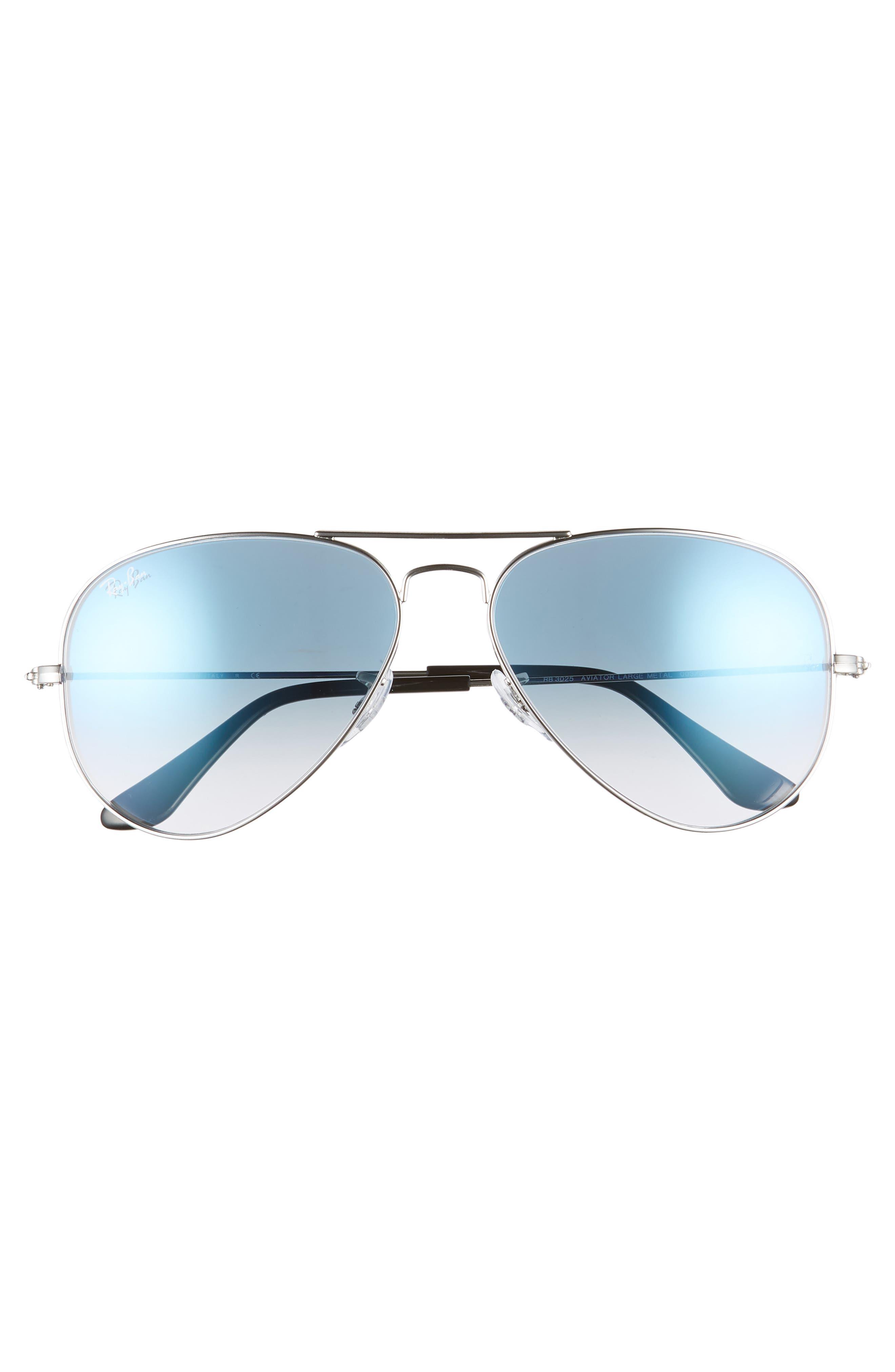 RAY-BAN, 58mm Gradient Aviator Sunglasses, Alternate thumbnail 3, color, SILVER/ BLUE GRADIENT