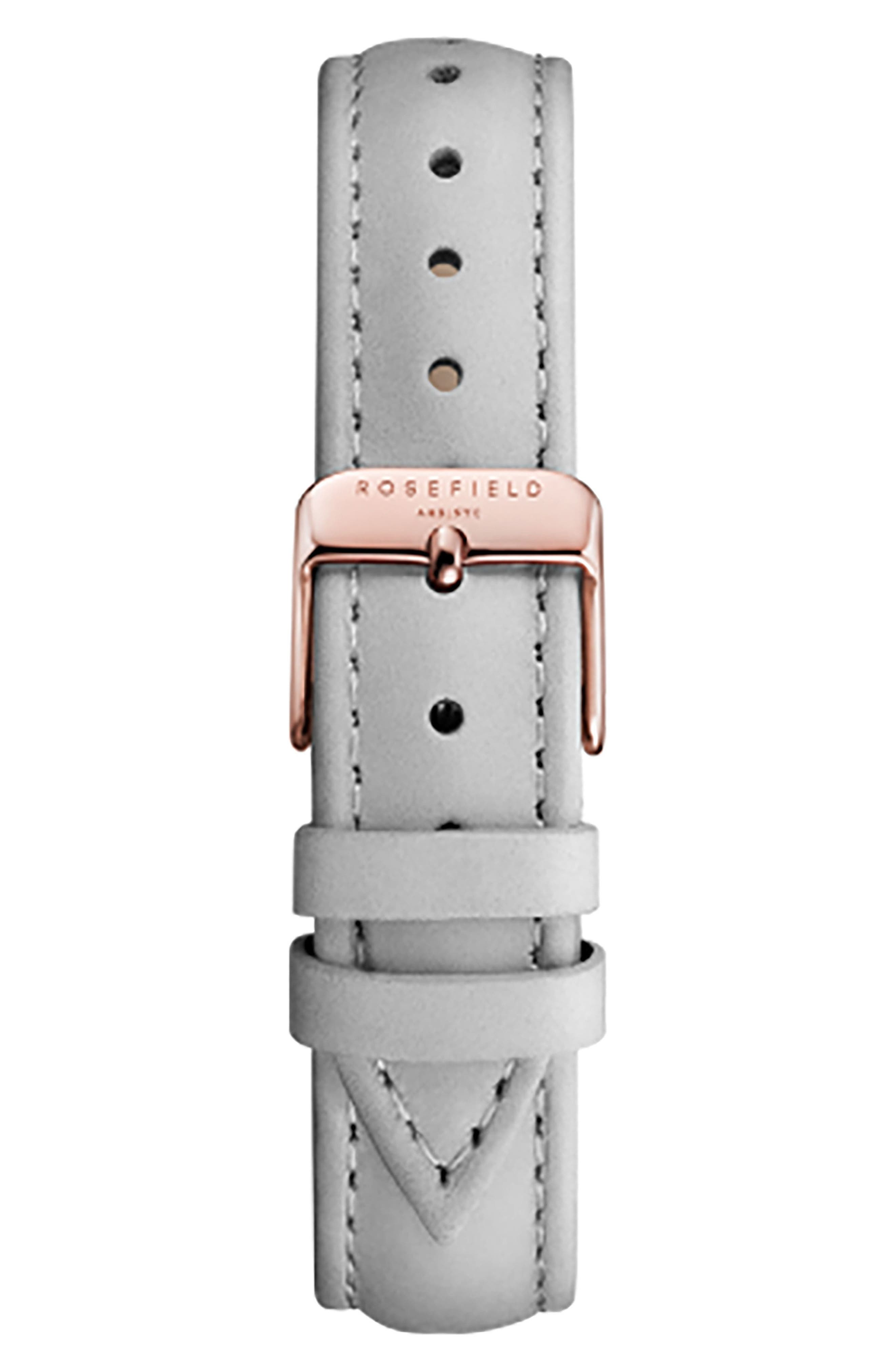ROSEFIELD, Bowery Leather Strap Watch, 38mm, Alternate thumbnail 2, color, GREY/ WHITE/ ROSE GOLD
