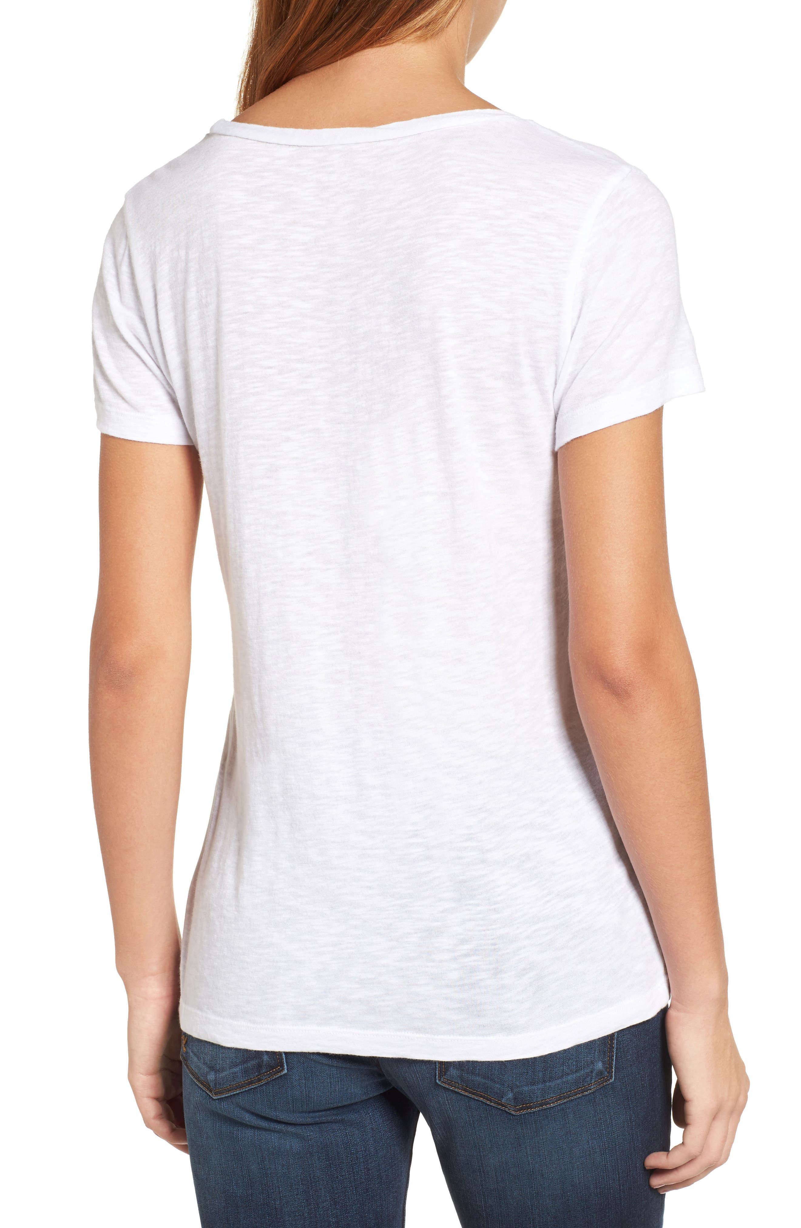 CASLON<SUP>®</SUP>, Rounded V-Neck Tee, Alternate thumbnail 2, color, WHITE
