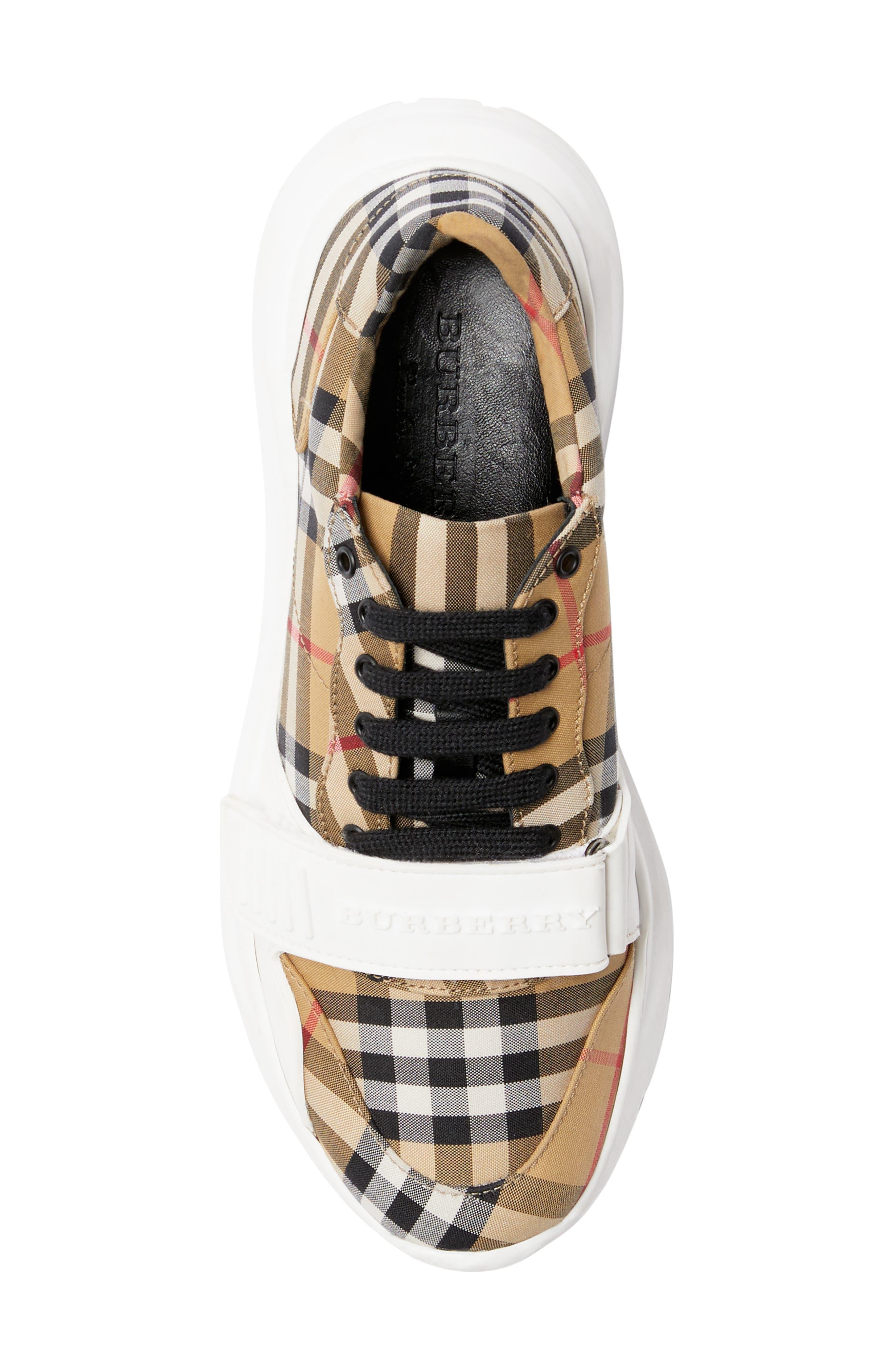 BURBERRY, Regis Check Lace-Up Sneaker, Alternate thumbnail 5, color, BEIGE PLAID