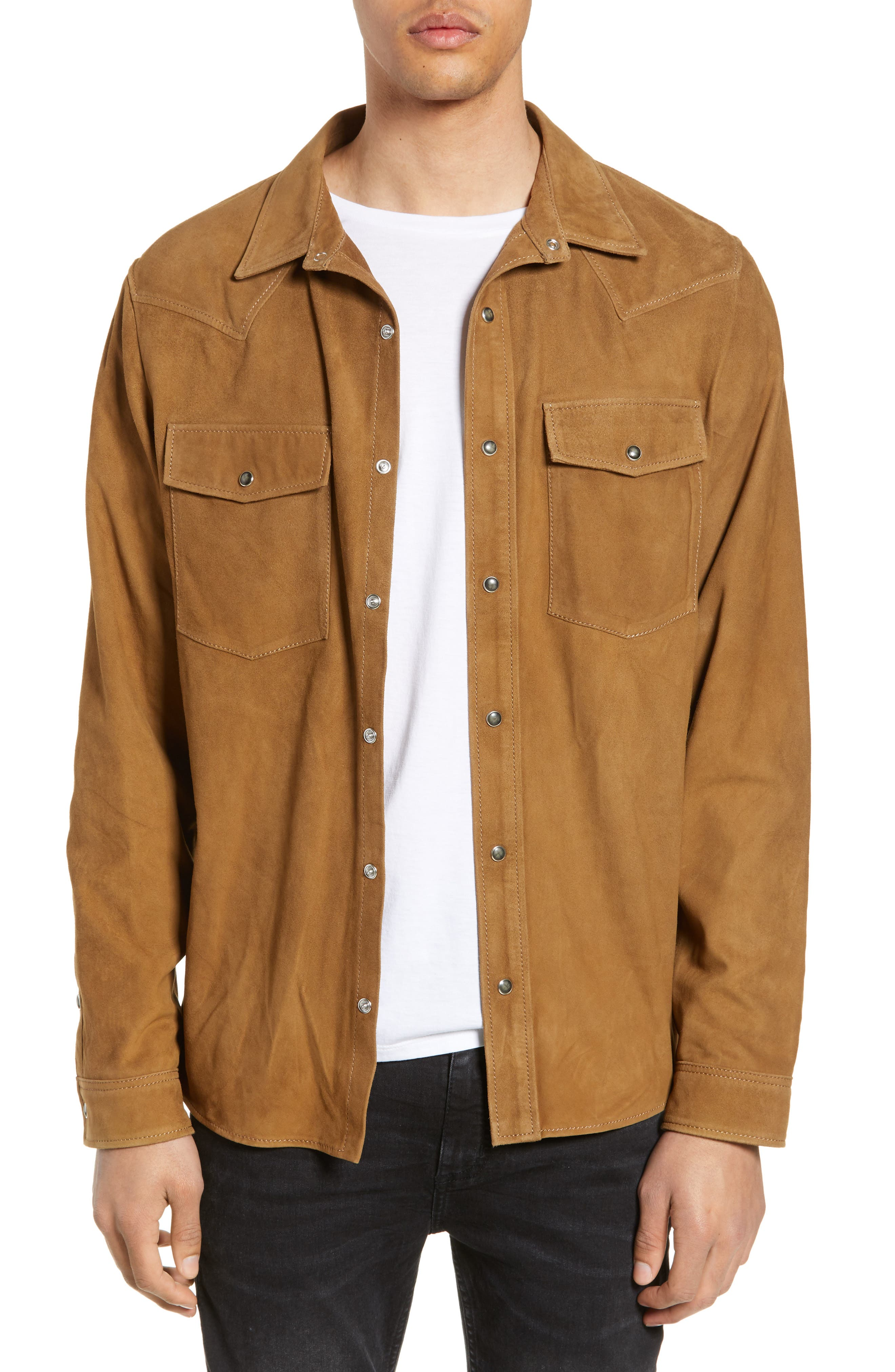 THE KOOPLES, Suede Shirt, Main thumbnail 1, color, CAMEL