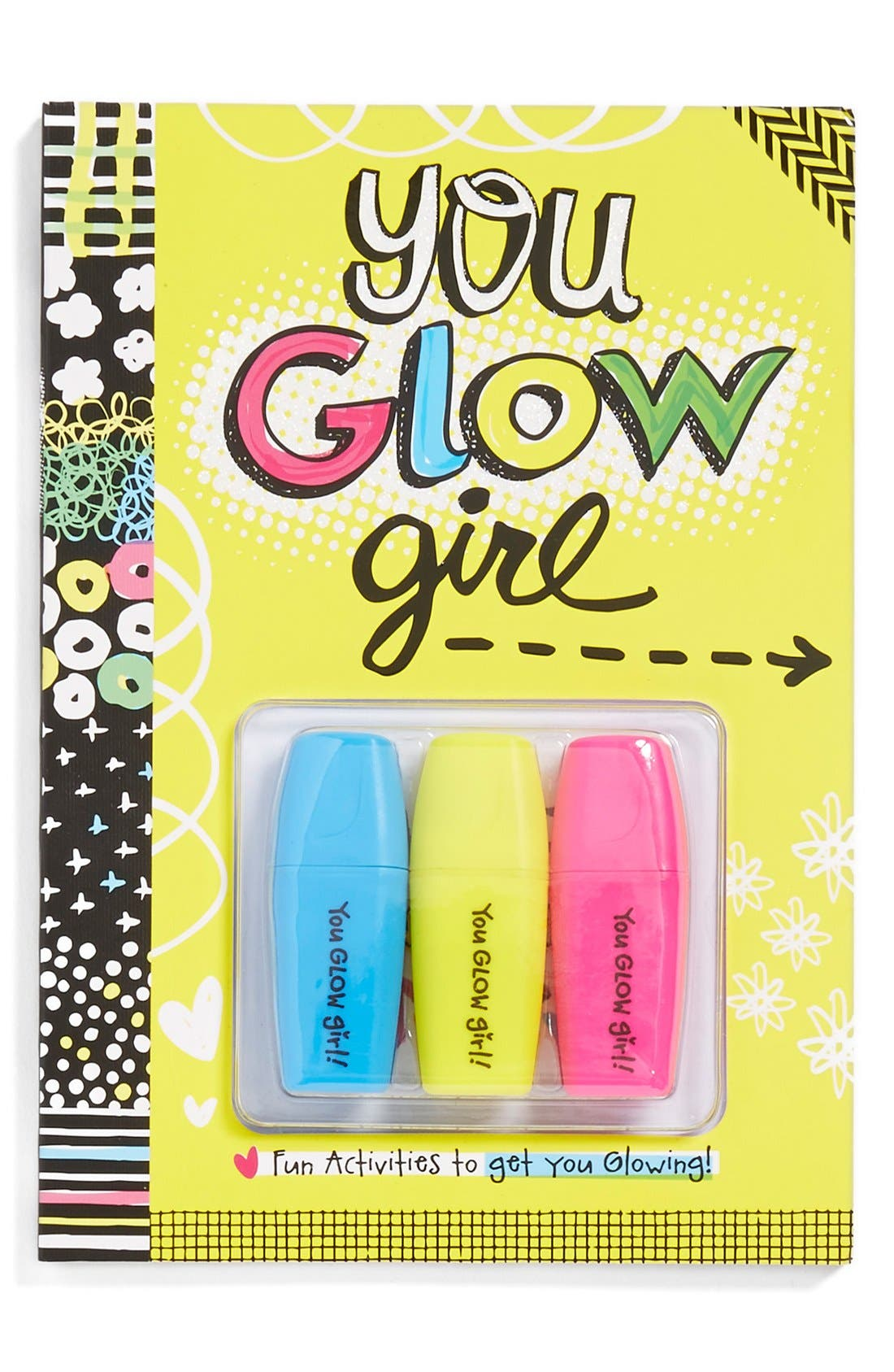 FINE PRINT PUBLISHING, 'You Glow Girl' Activity Book & Highlighters, Main thumbnail 1, color, 700