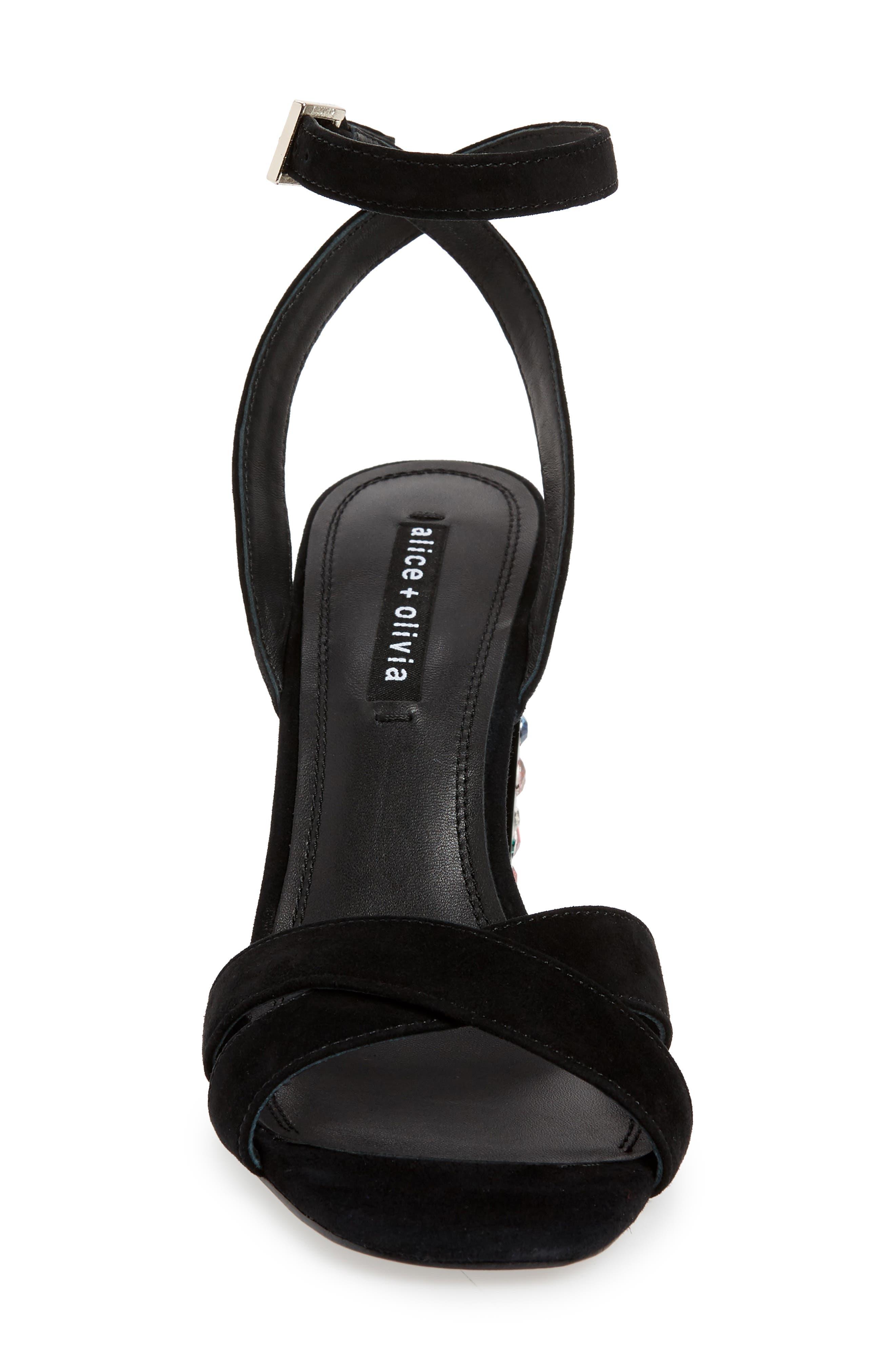 ALICE + OLIVIA, Renia Crystal Heel Sandal, Alternate thumbnail 4, color, BLACK