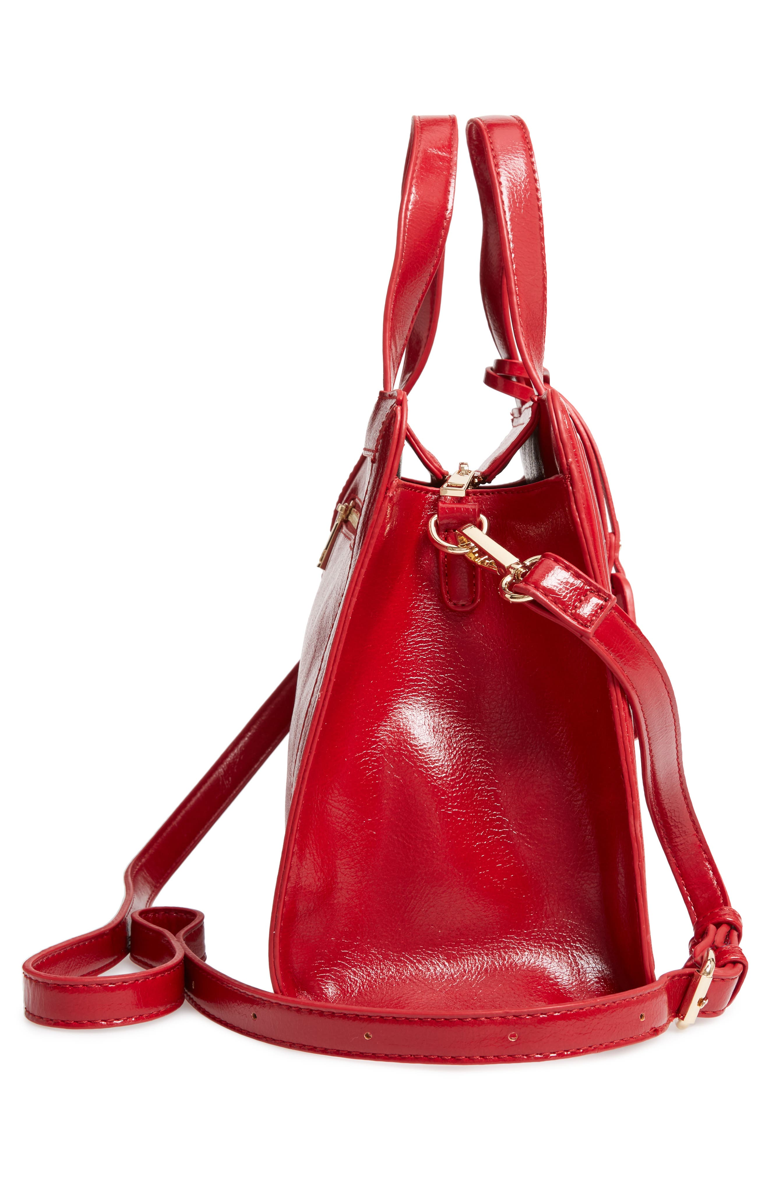 SOLE SOCIETY, Aisln Faux Leather Satchel, Alternate thumbnail 5, color, RED