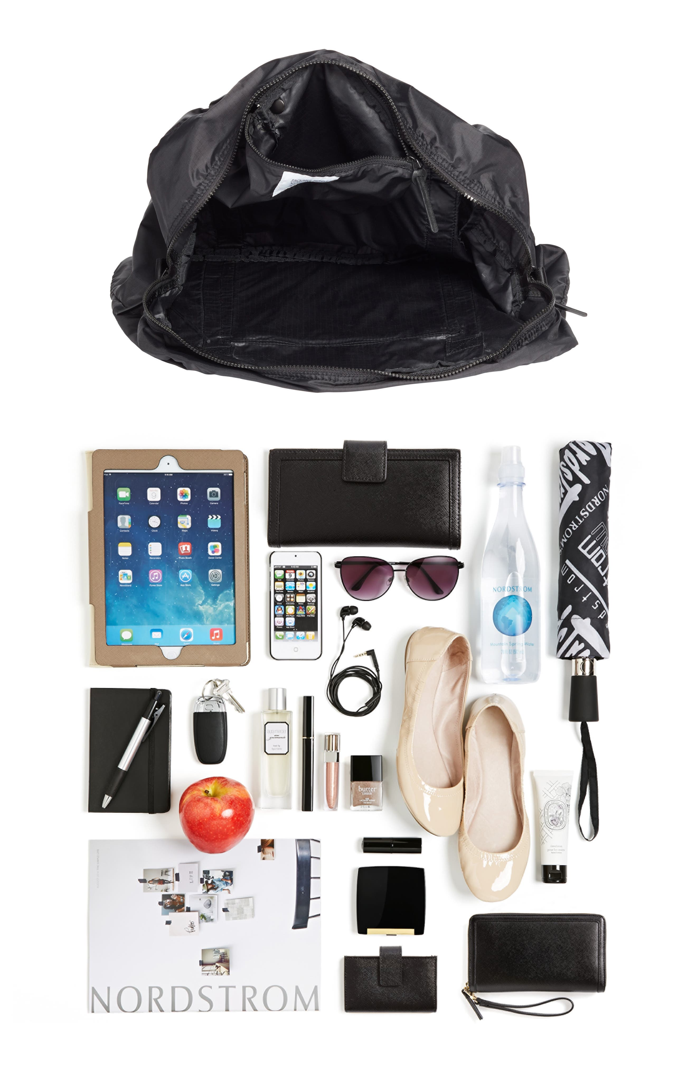 NORDSTROM, Packable Nylon Duffel Bag, Alternate thumbnail 9, color, BLACK