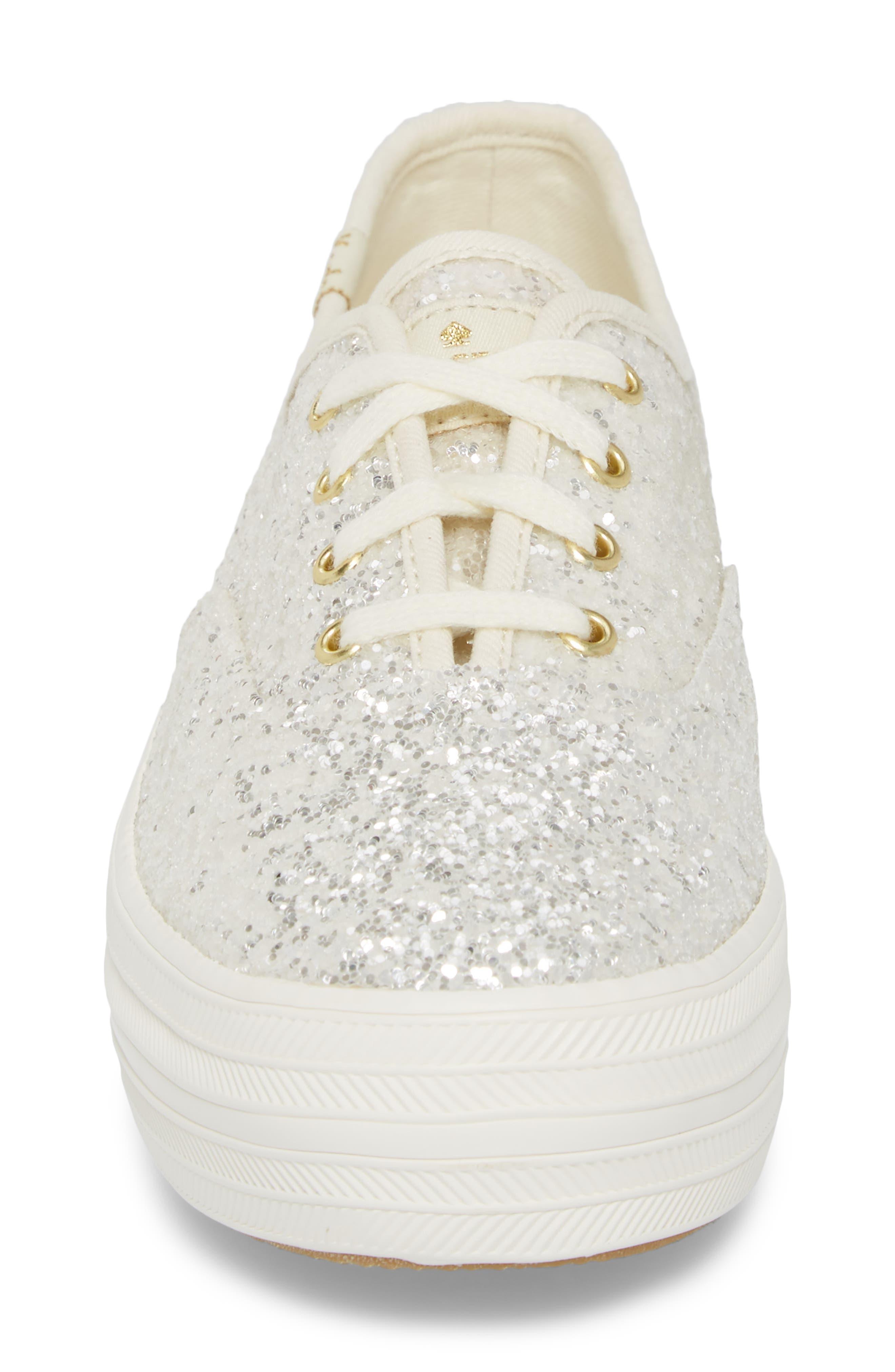 KEDS<SUP>®</SUP> FOR KATE SPADE NEW YORK, triple decker glitter sneaker, Alternate thumbnail 4, color, CREAM