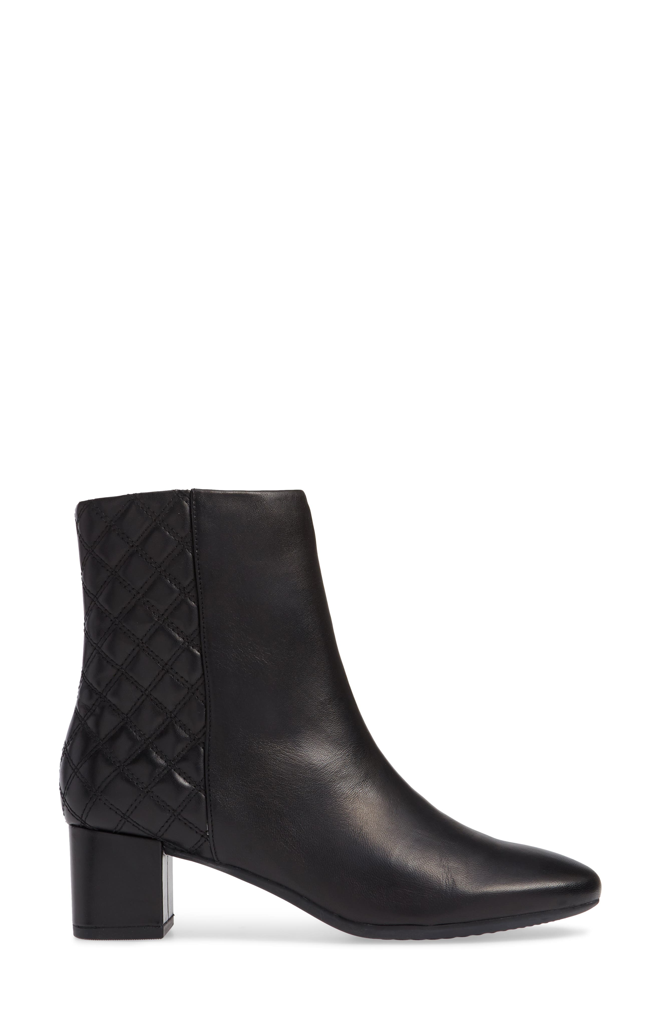 CLARKS<SUP>®</SUP>, Tealia Luck Bootie, Alternate thumbnail 3, color, BLACK LEATHER
