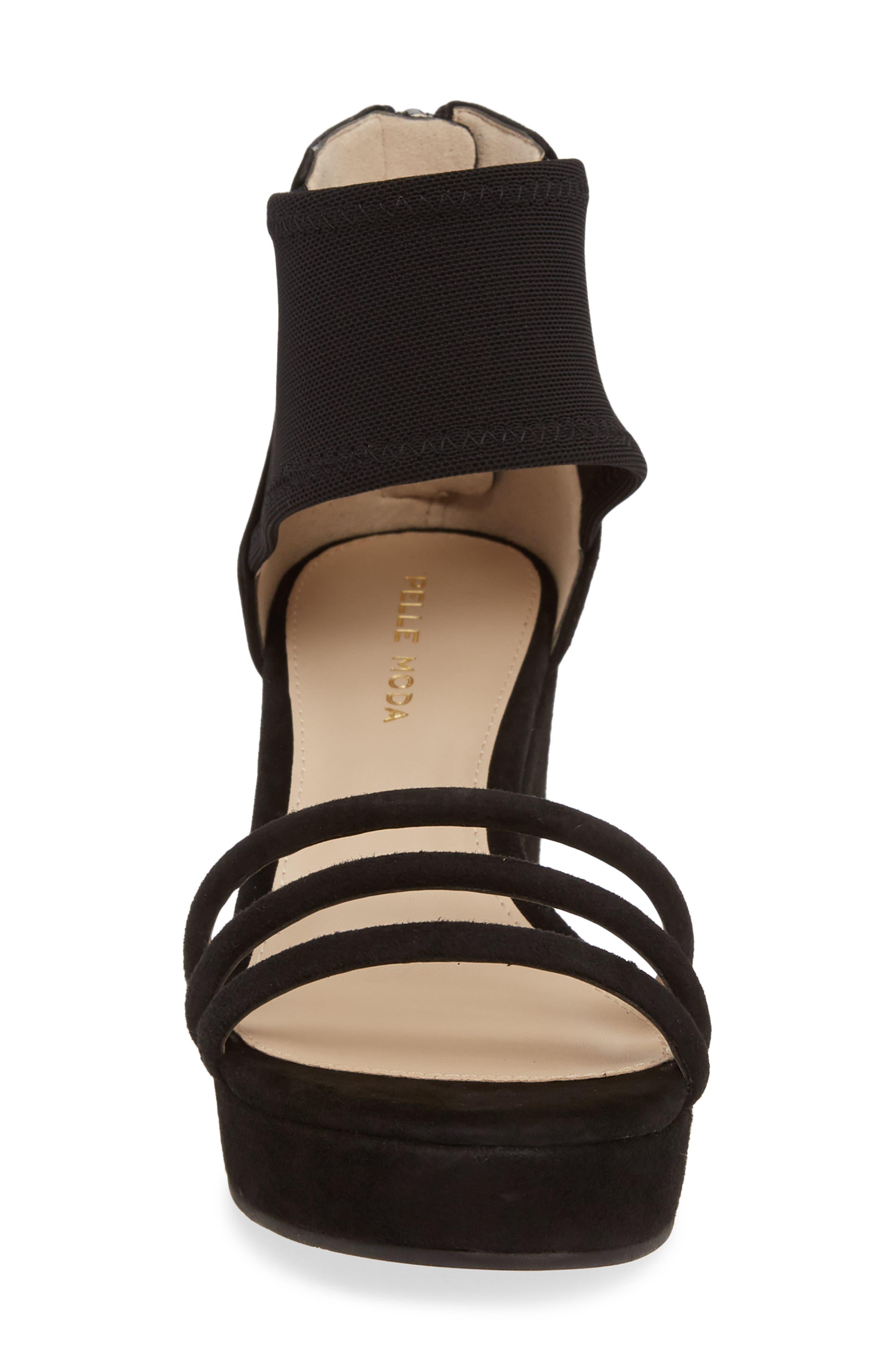 PELLE MODA, Katrice Platform Wedge Sandal, Alternate thumbnail 4, color, BLACK SUEDE