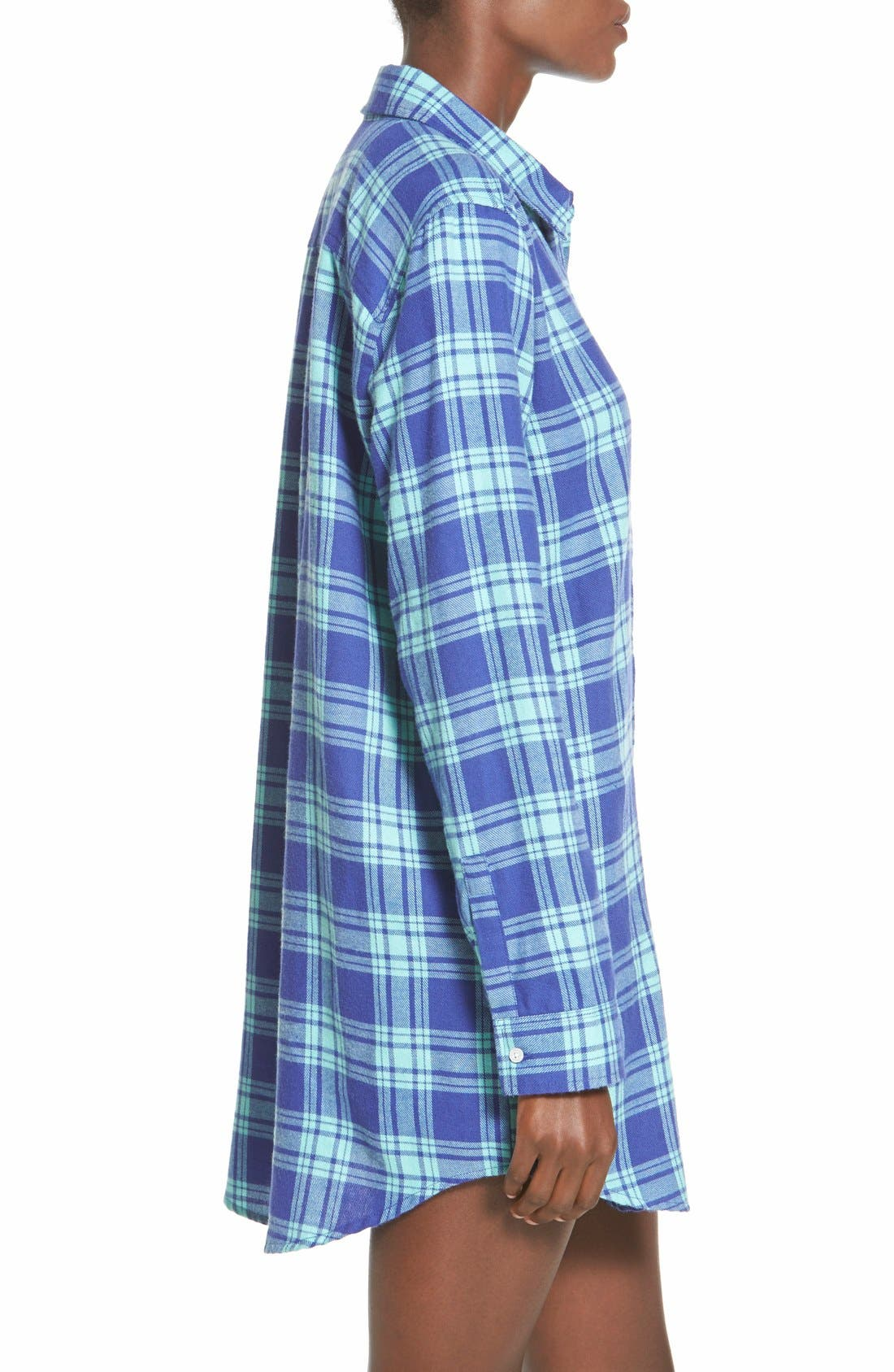 BP. UNDERCOVER, Flannel Night Shirt, Alternate thumbnail 5, color, 440