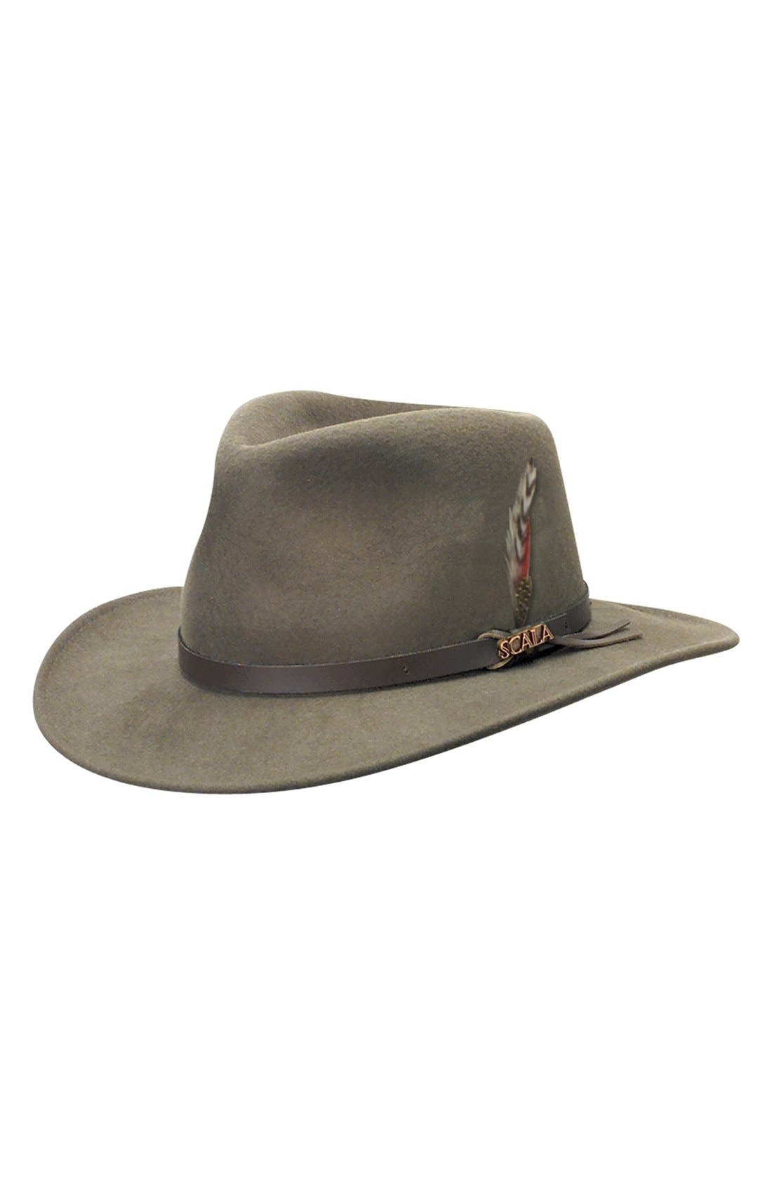 SCALA 'Classico' Crushable Felt Outback Hat, Main, color, KHAKI