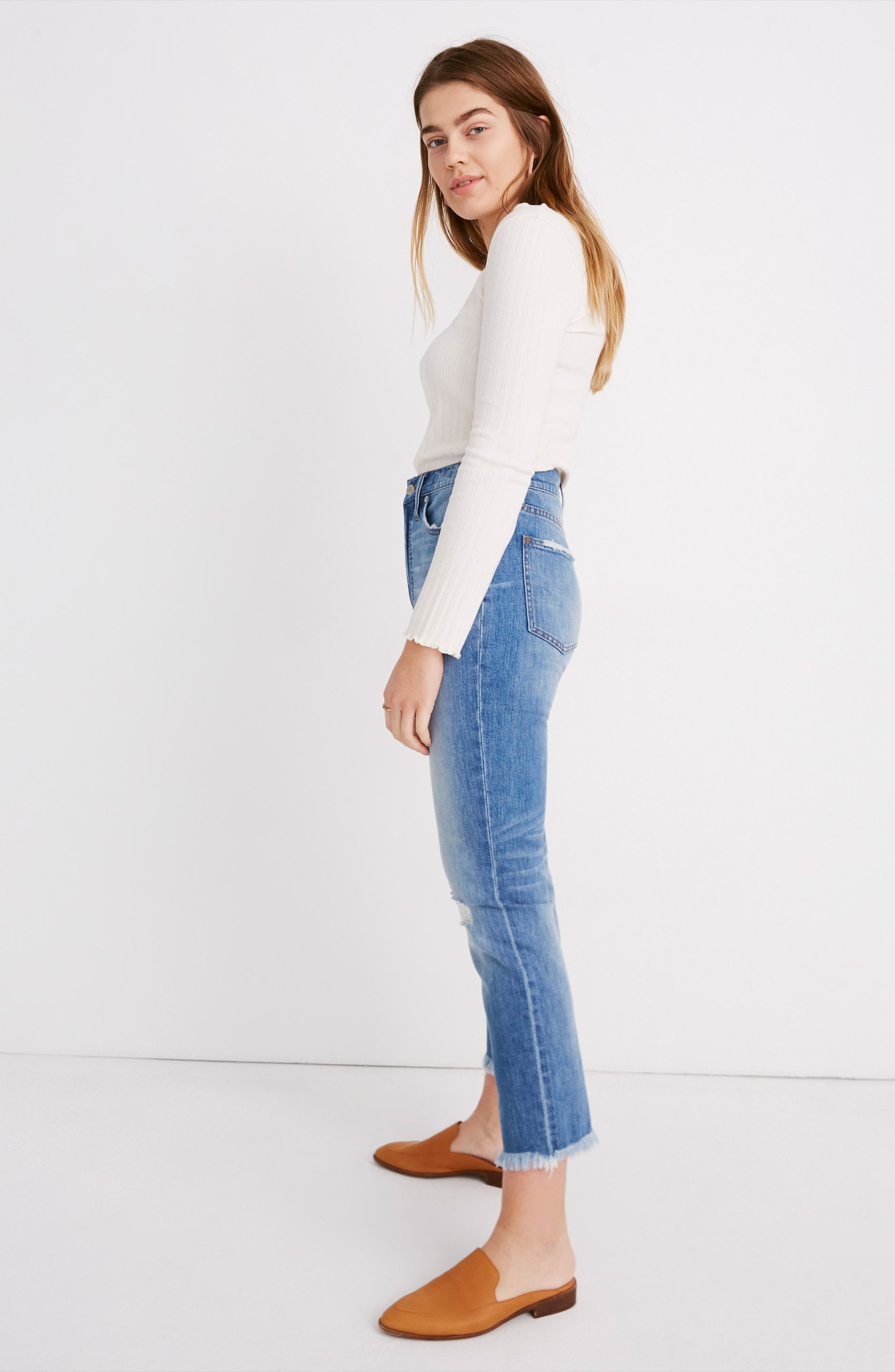 MADEWELL, The Perfect Vintage Crop High Waist Jeans, Alternate thumbnail 14, color, PARNELL WASH