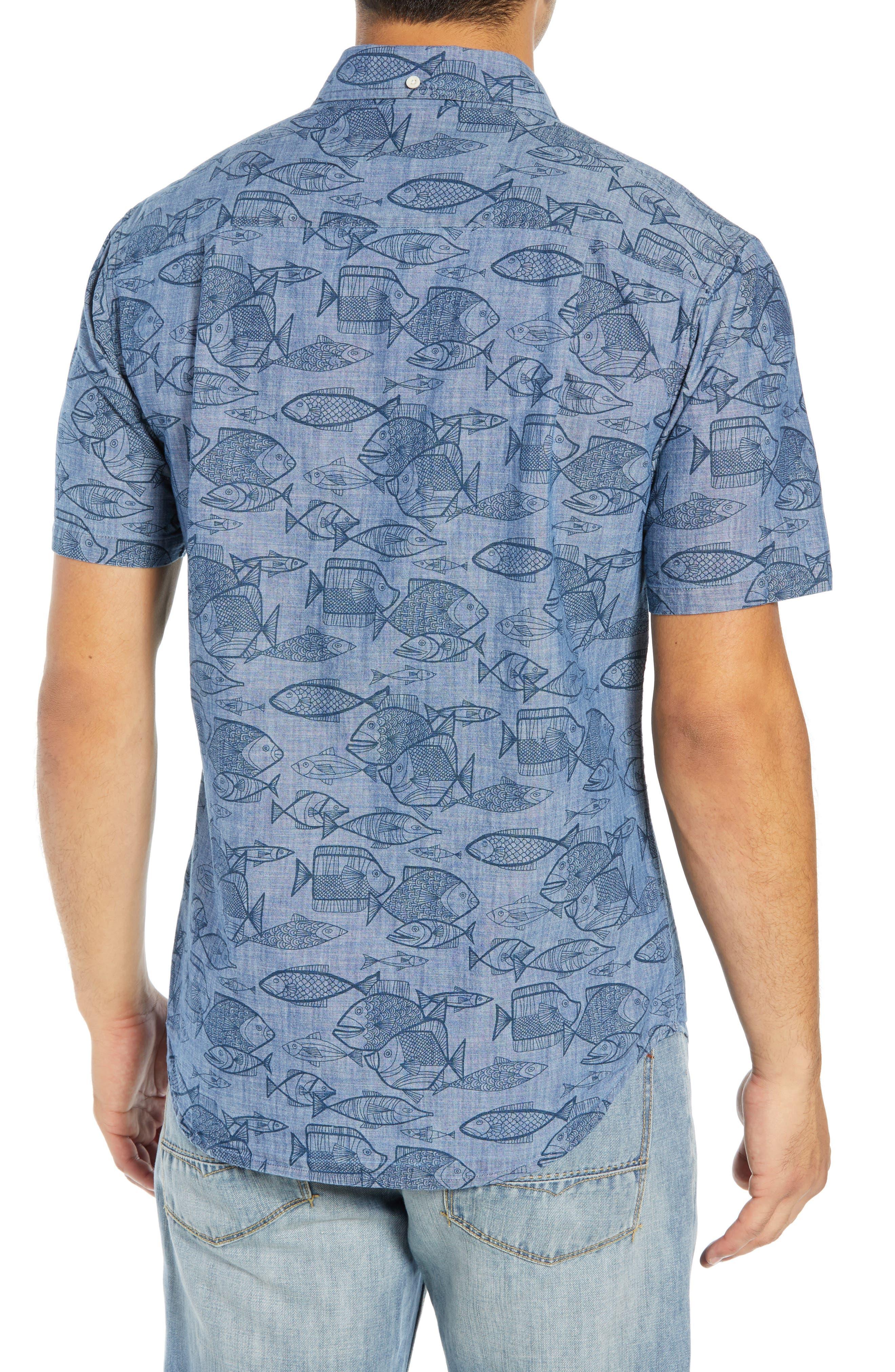 REYN SPOONER, Kauhulu Tailored Fit Sport Shirt, Alternate thumbnail 3, color, CHAMBRAY BLUE