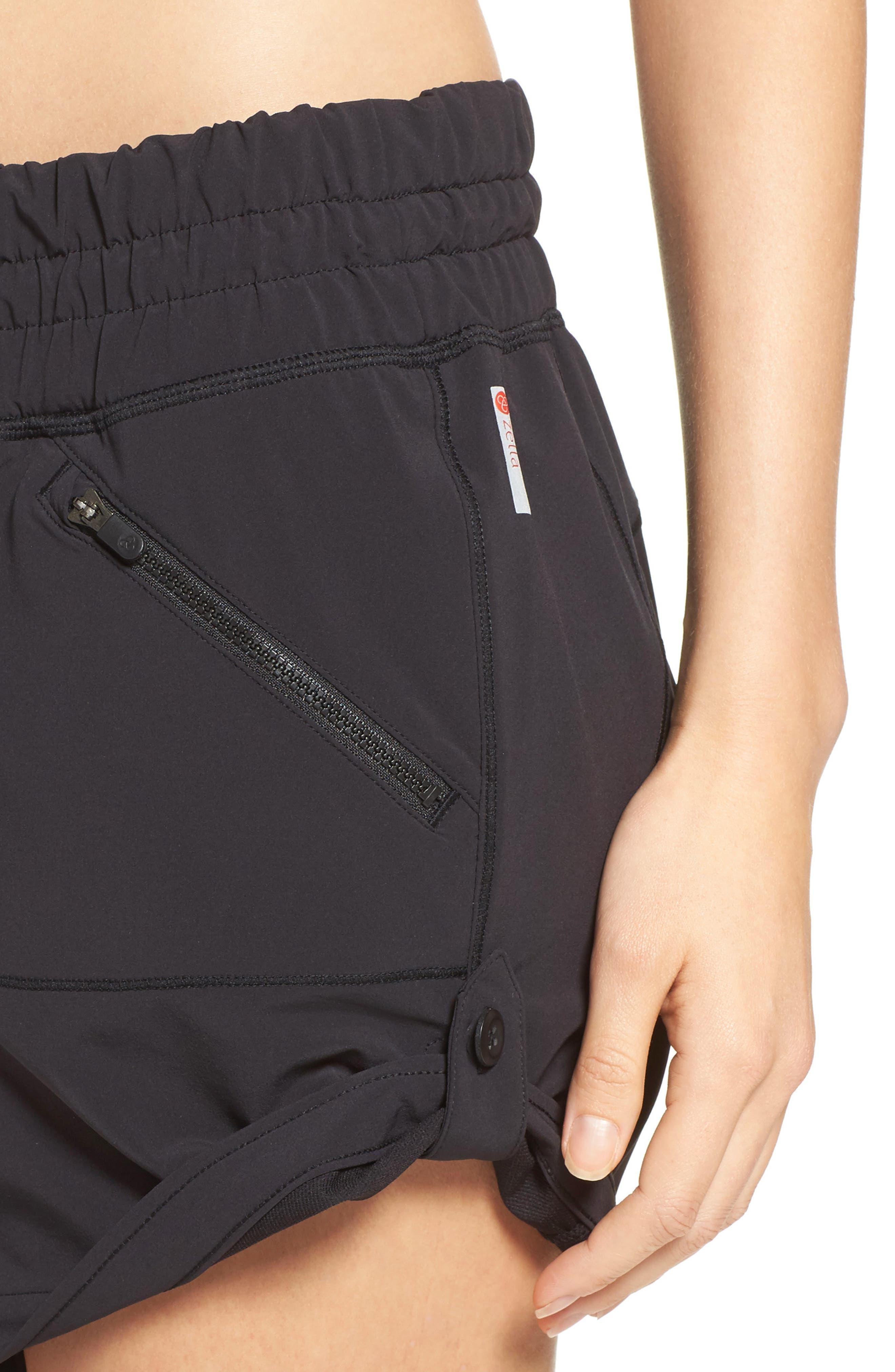 ZELLA, Switchback Shorts, Alternate thumbnail 5, color, BLACK