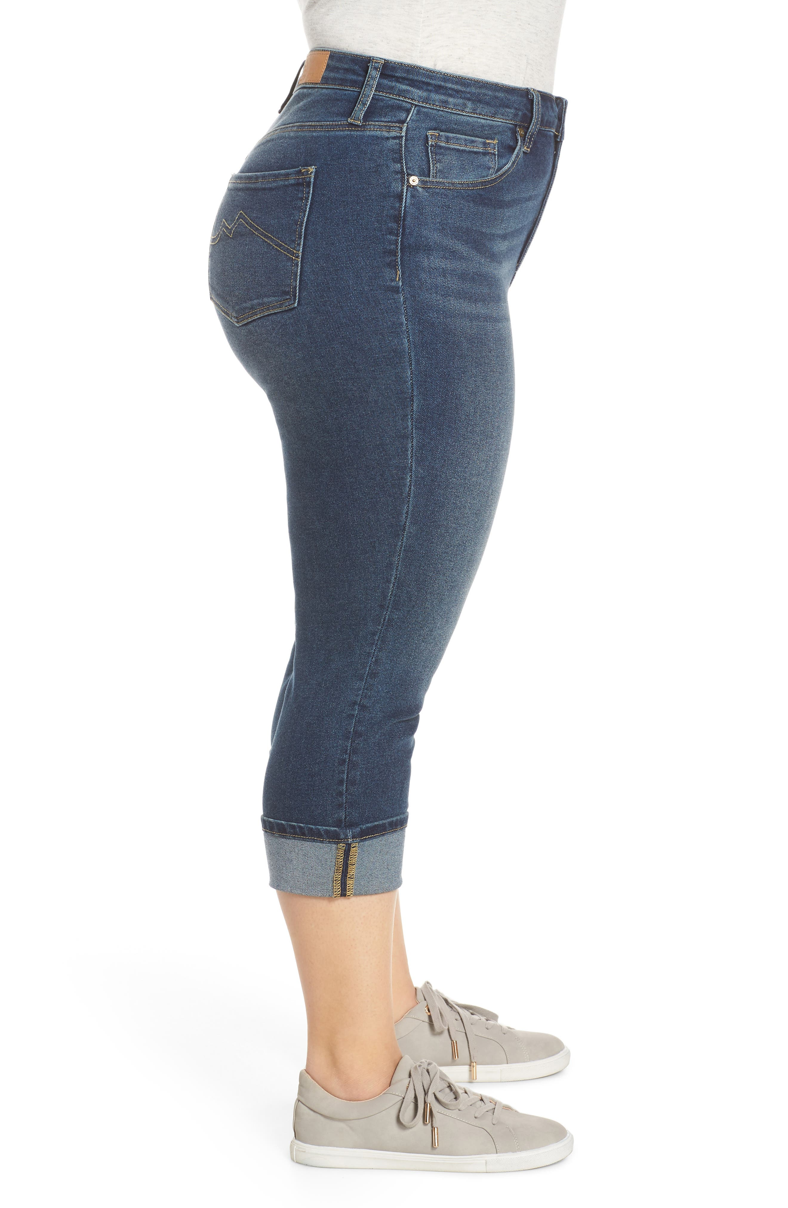 MAXSTUDIO INDIGO, High Waist Crop Skinny Jeans, Alternate thumbnail 4, color, JADE