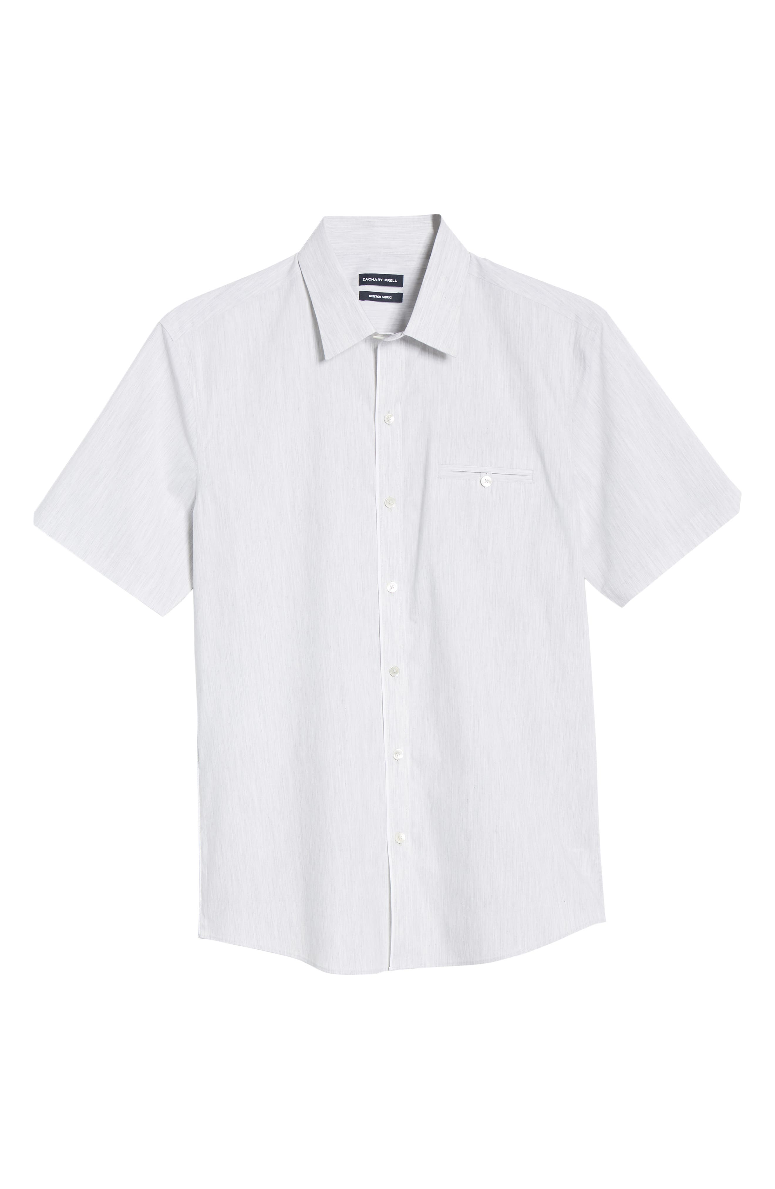 ZACHARY PRELL, Baumann Regular Fit Sport Shirt, Alternate thumbnail 5, color, GREY