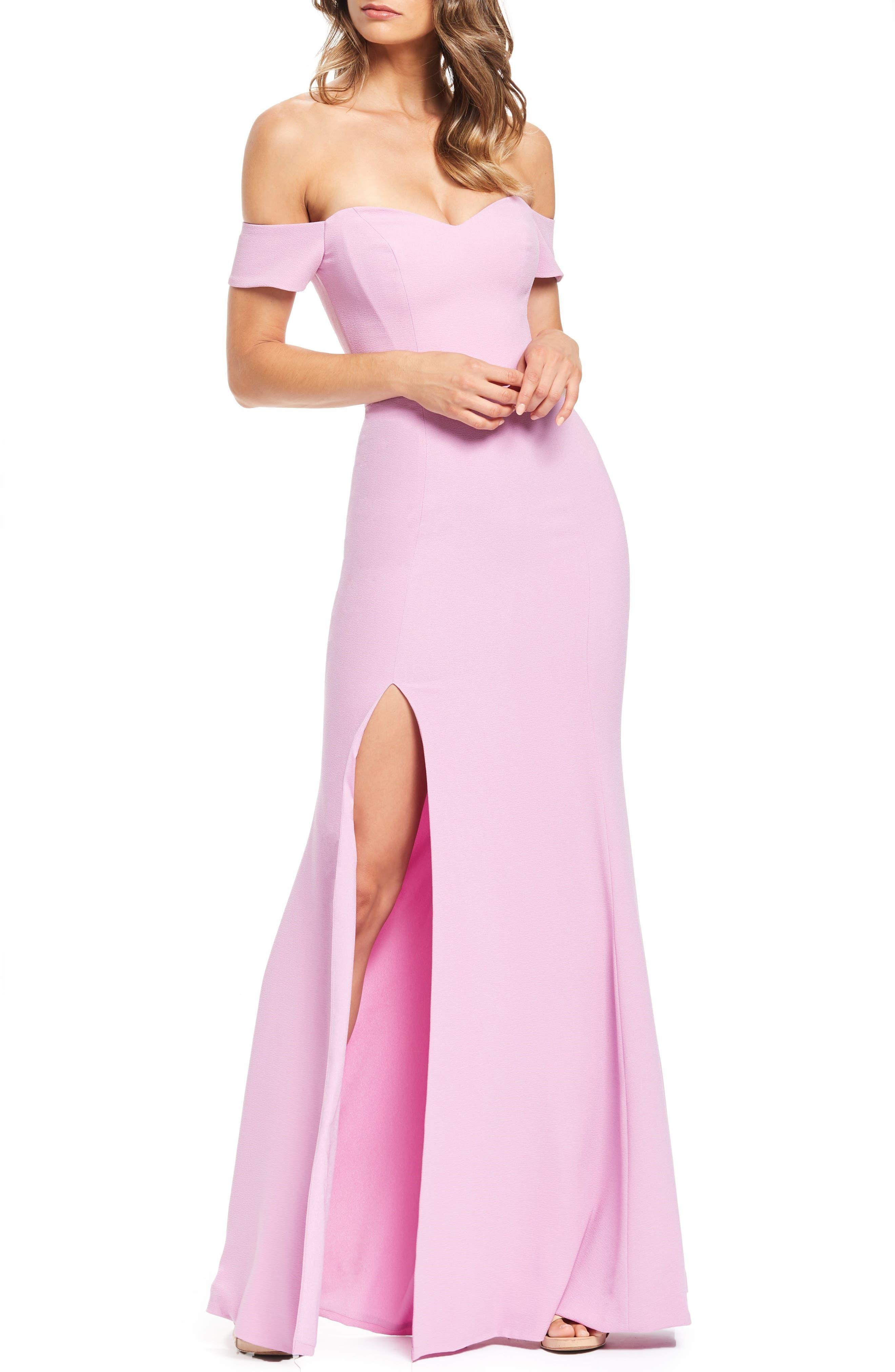 Dress The Population Logan Off The Shoulder Evening Dress, Purple