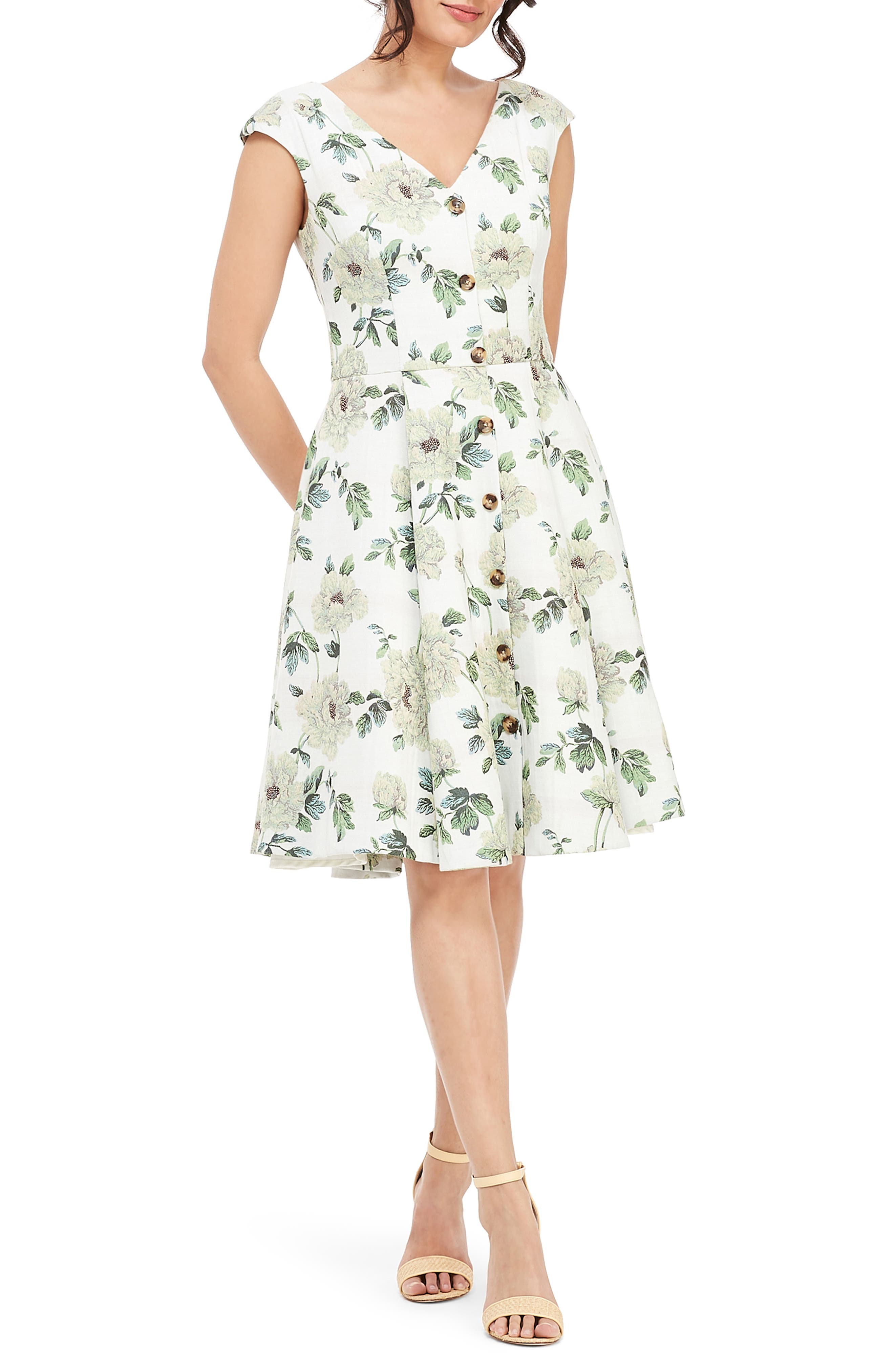 GAL MEETS GLAM COLLECTION, Lilly Button Detail Fit & Flare Dress, Main thumbnail 1, color, GREEN MULTI