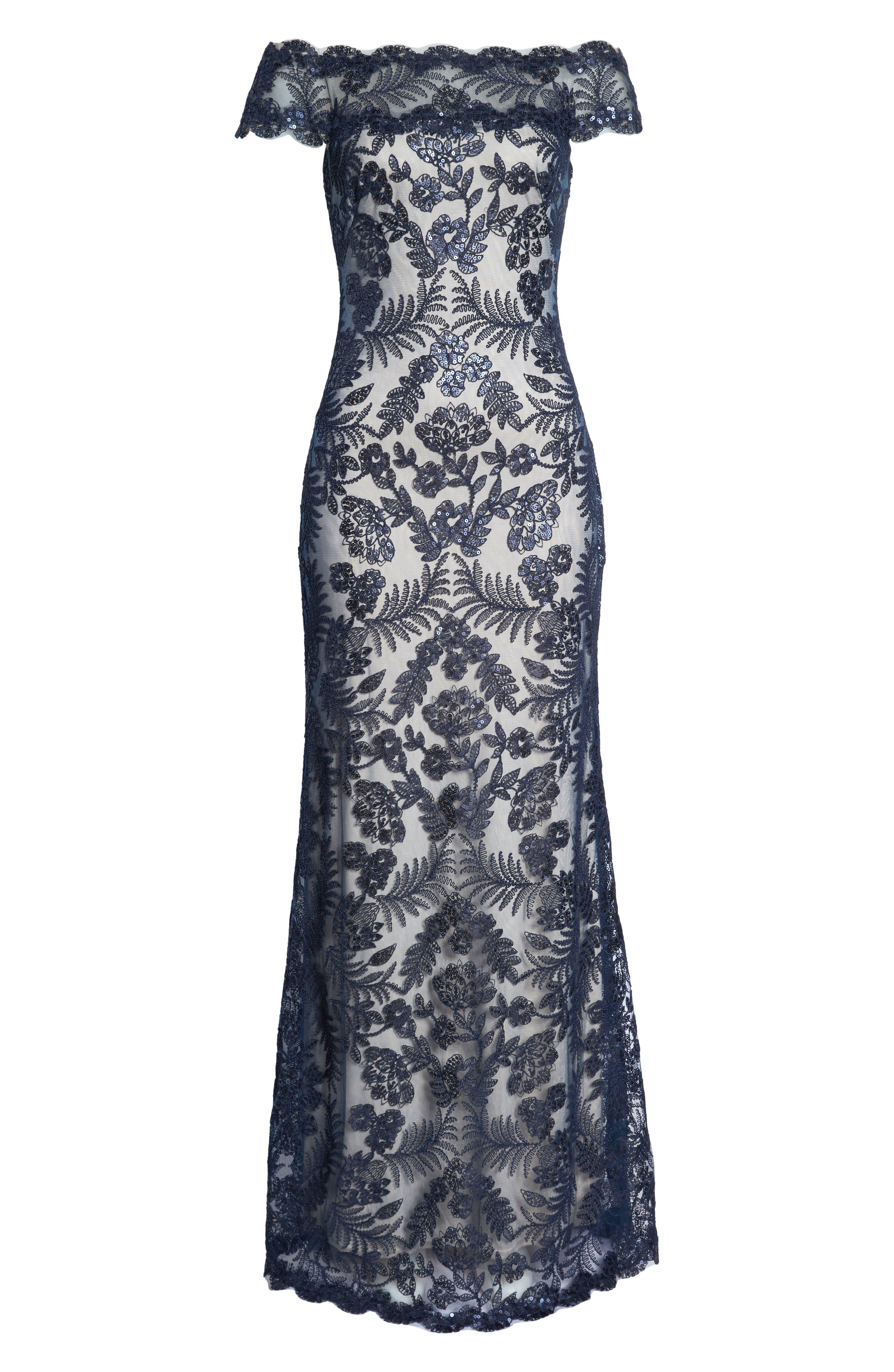 TADASHI SHOJI, Illusion Neck Sequin Lace Gown, Alternate thumbnail 8, color, 410