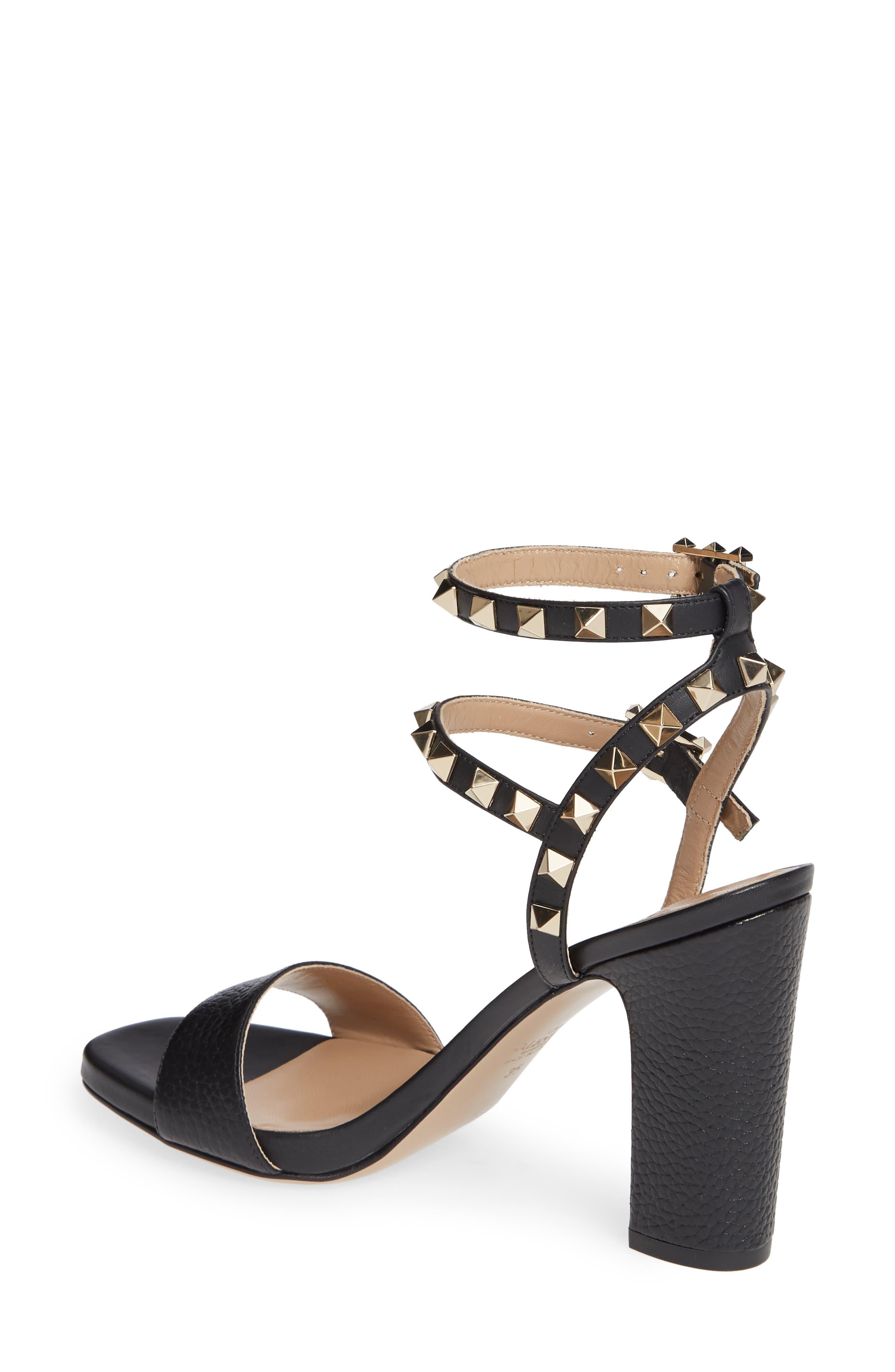 VALENTINO GARAVANI, Rockstud Ankle Strap Block Sandal, Alternate thumbnail 2, color, BLACK/ BLACK