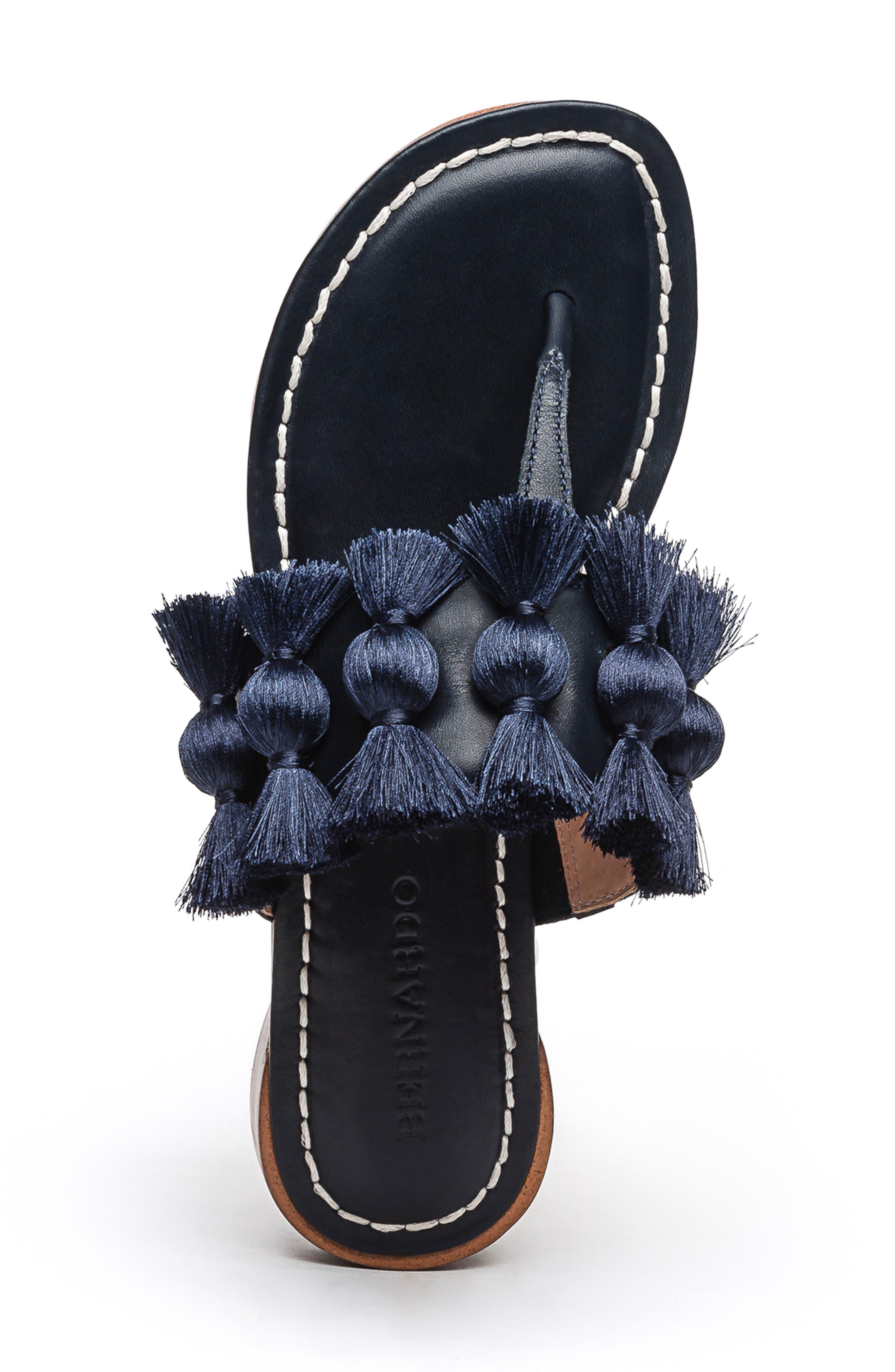 BERNARDO, Footwear Tara Flip Flop, Alternate thumbnail 5, color, NAVY ANTIQUE LEATHER