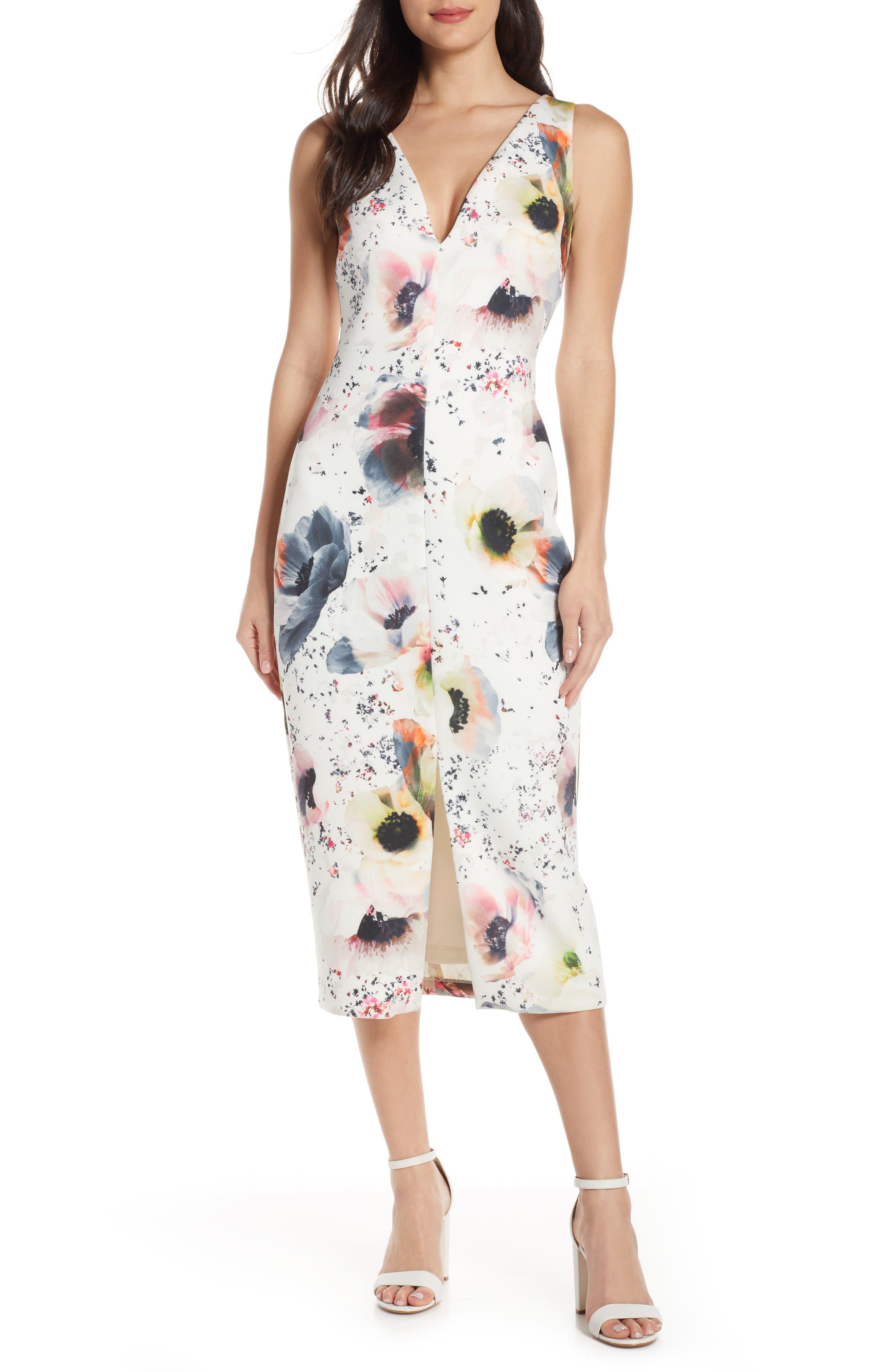 Badgley Mischka Floral Print Scuba Midi Dress, Ivory