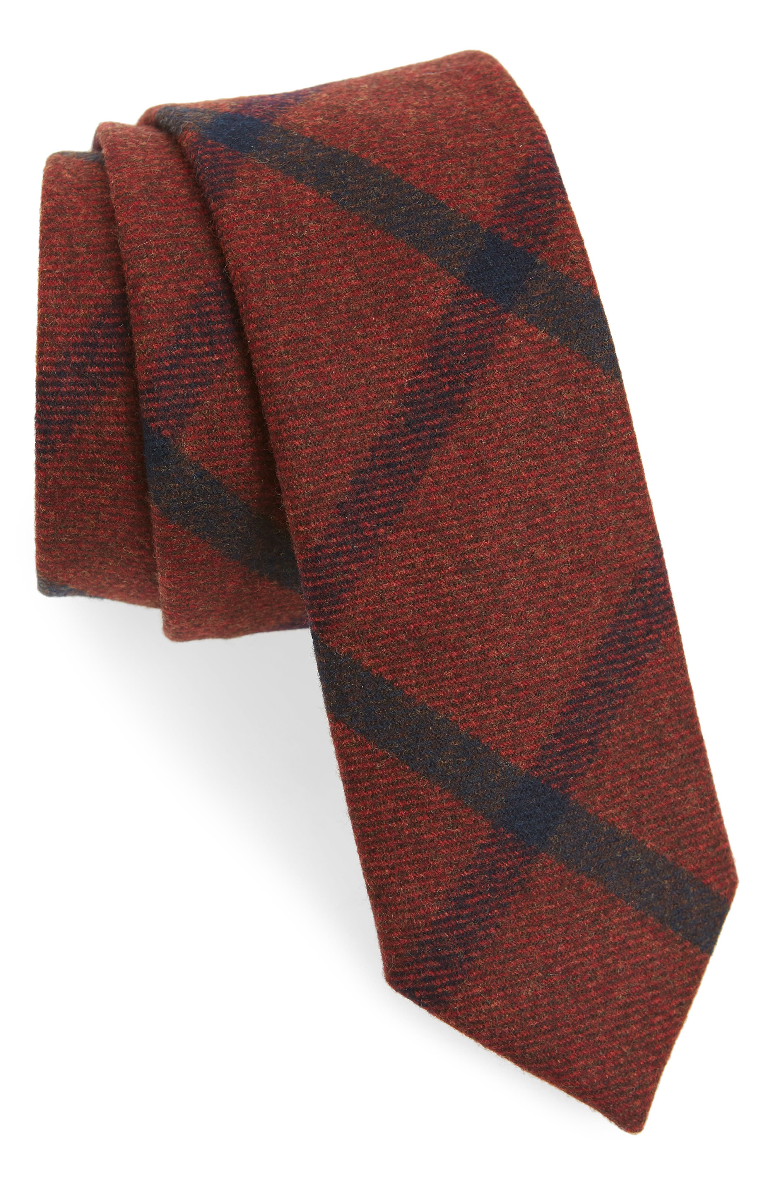 THE TIE BAR, Mosso Plaid Wool Tie, Main thumbnail 1, color, RED