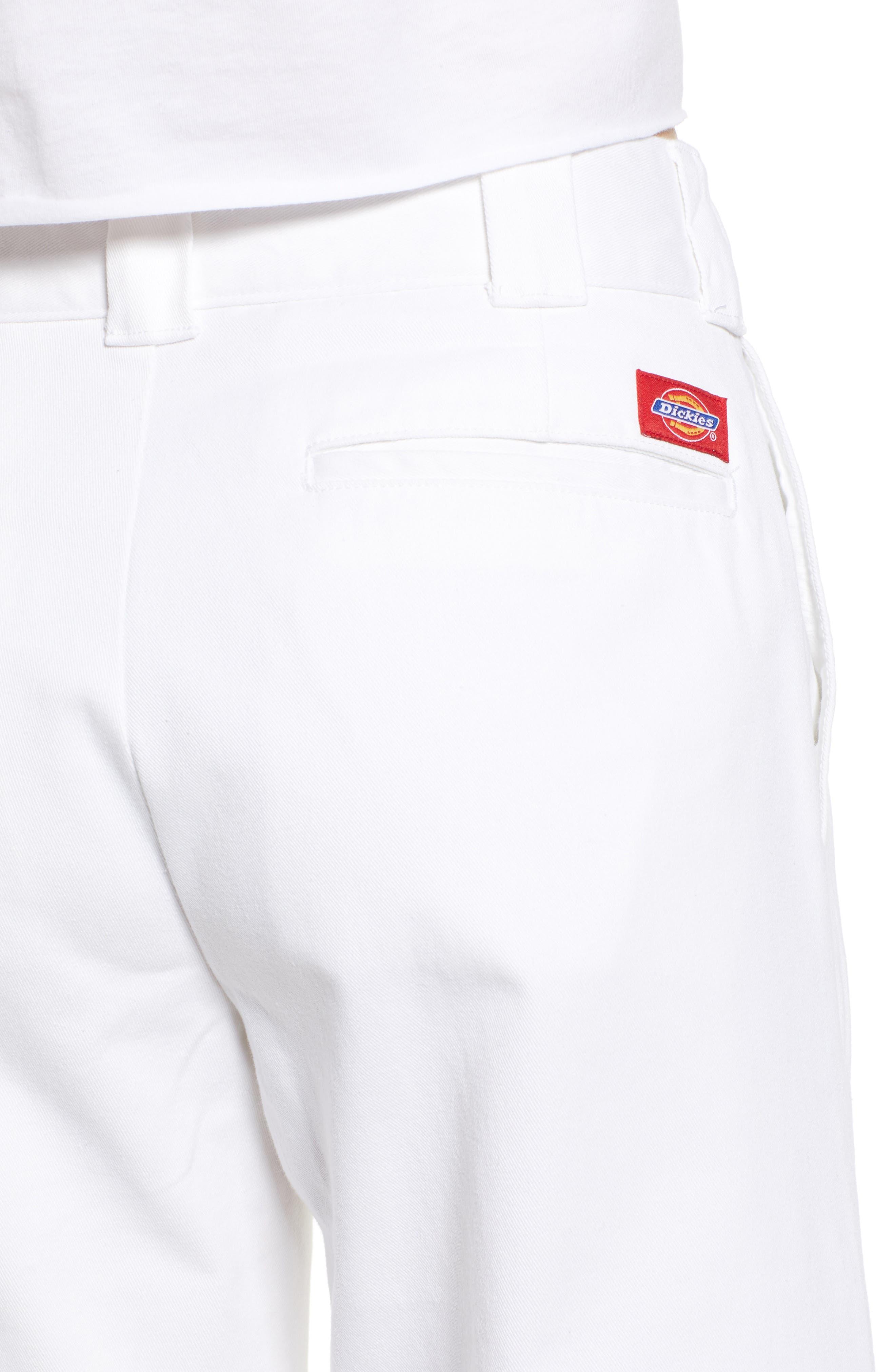 DICKIES, Fray Hem Crop Work Pants, Alternate thumbnail 5, color, WHITE