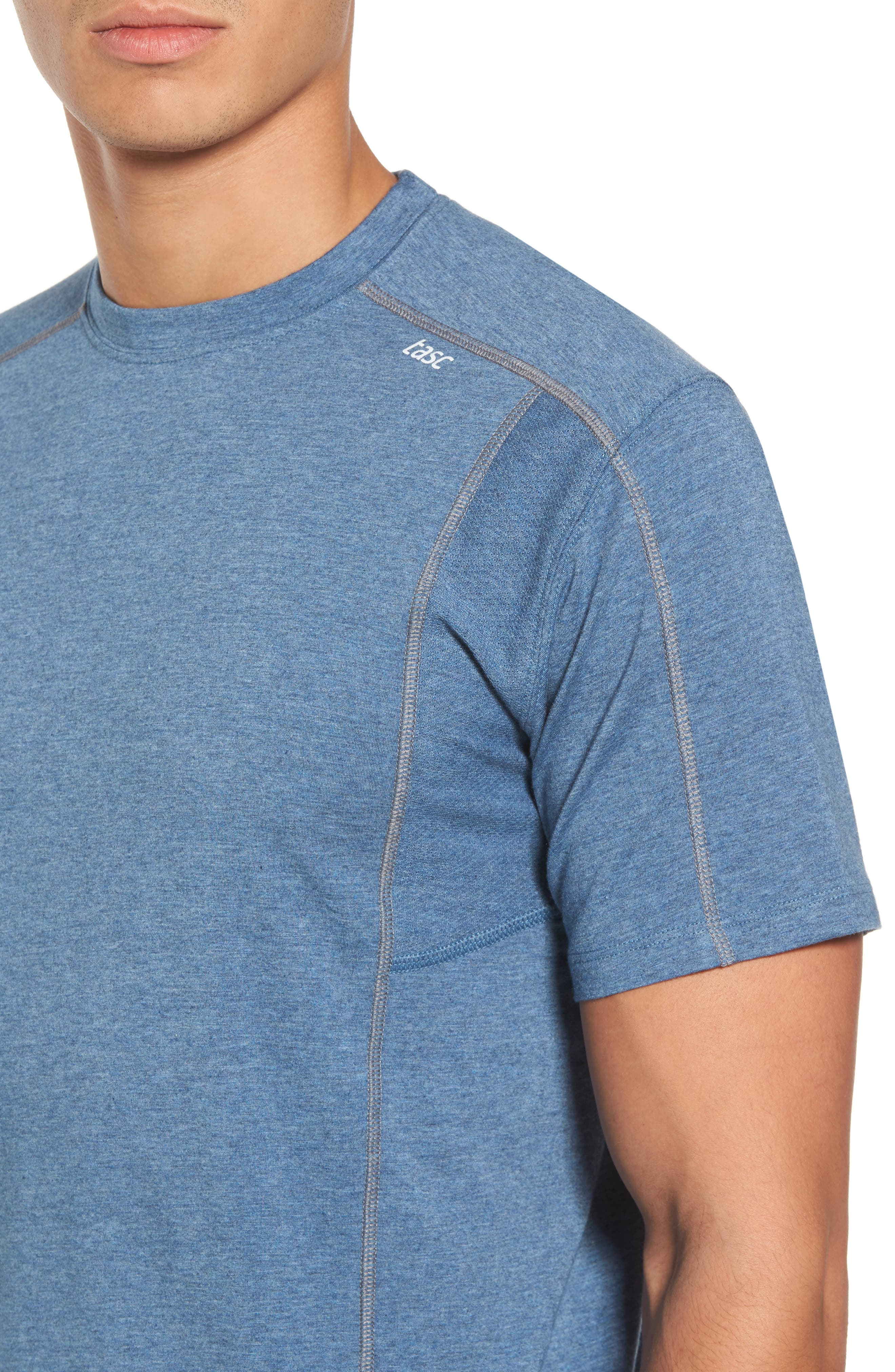 TASC PERFORMANCE, Charge Semi-Fitted T-Shirt, Alternate thumbnail 4, color, INDIGO HEATHER