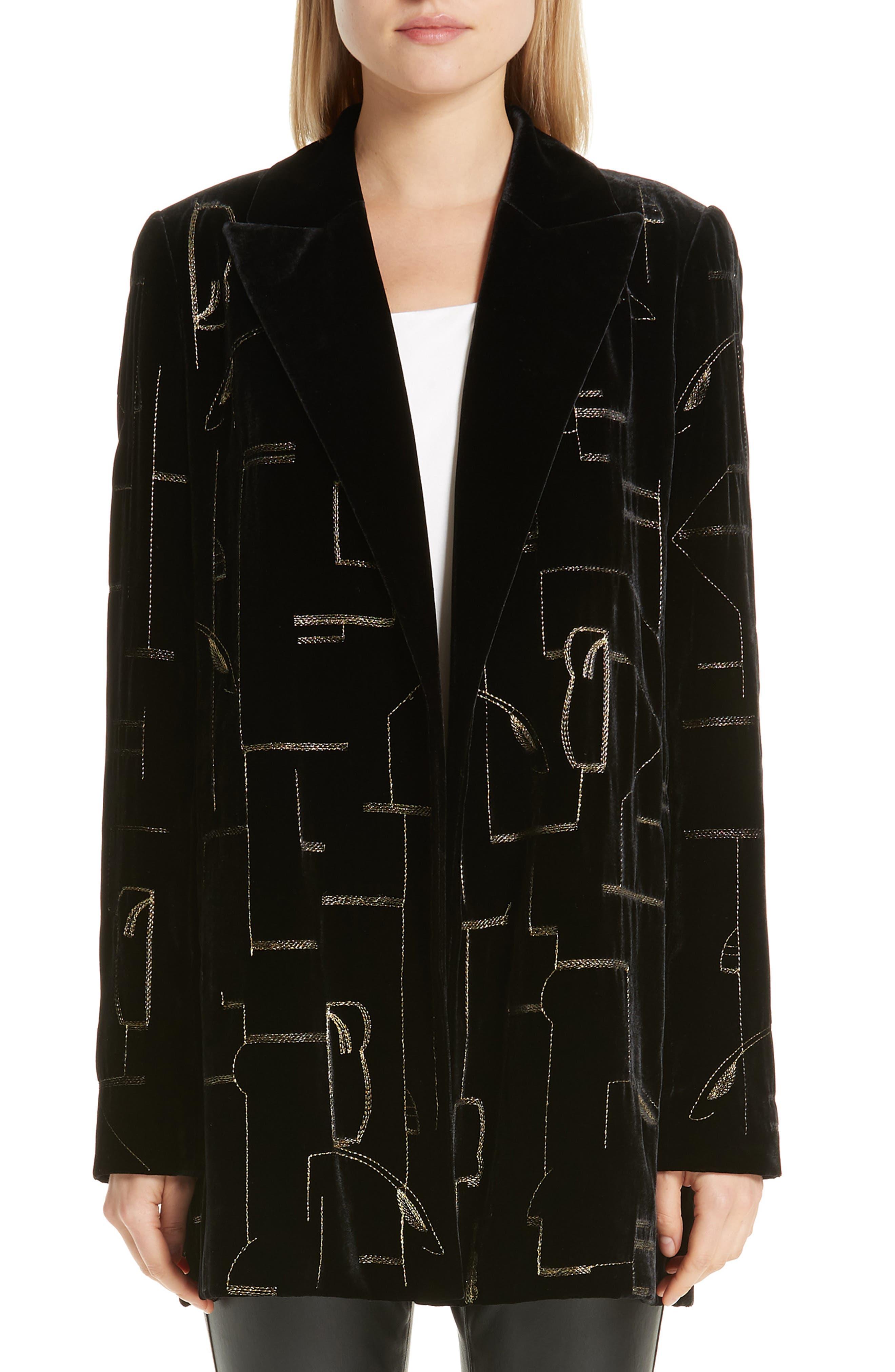 LAFAYETTE 148 NEW YORK Sivan Embellished Velvet Blazer, Main, color, 001