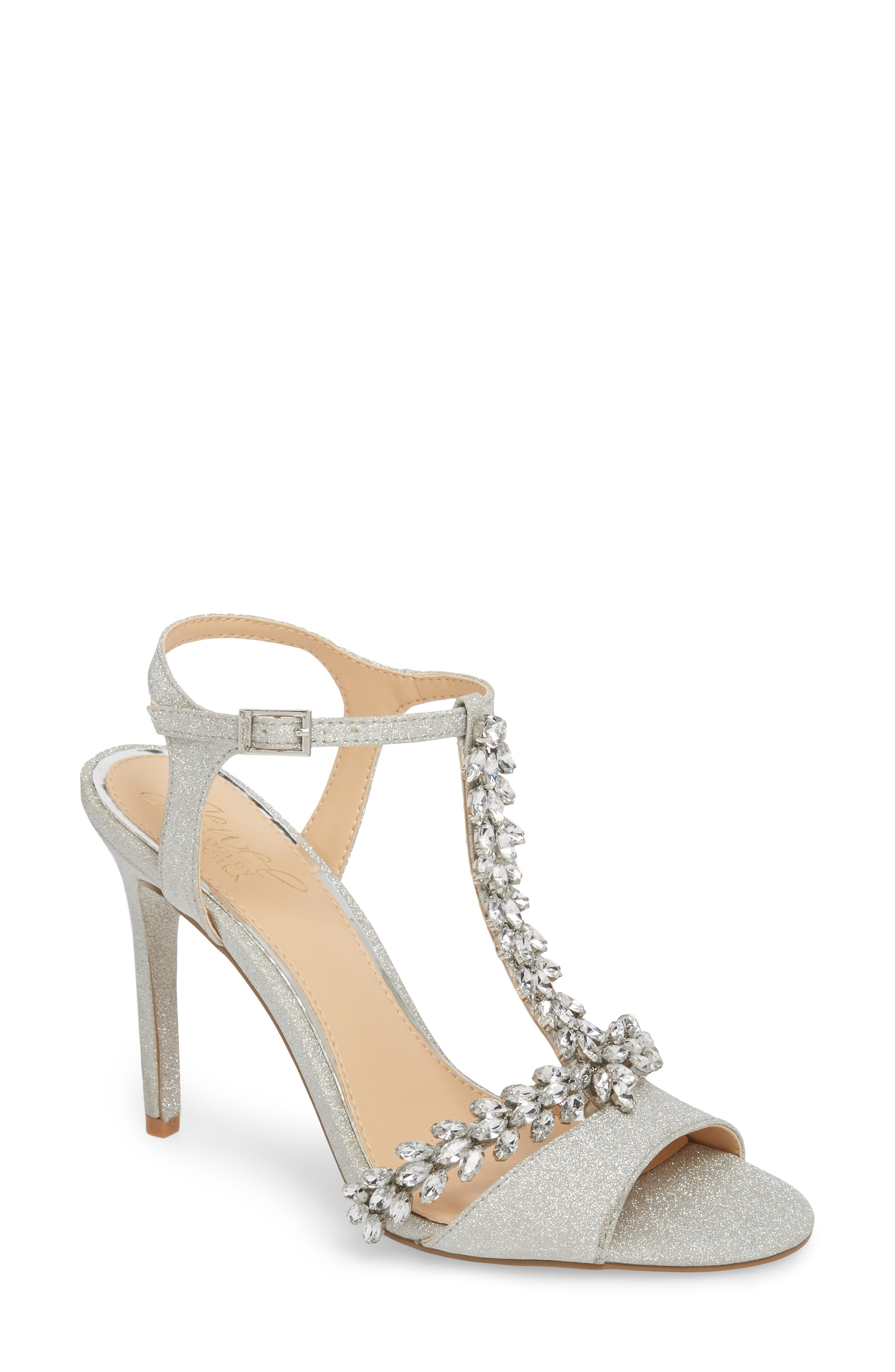 JEWEL BADGLEY MISCHKA, Maxi Crystal Embellished Sandal, Main thumbnail 1, color, SILVER GLITTER FABRIC