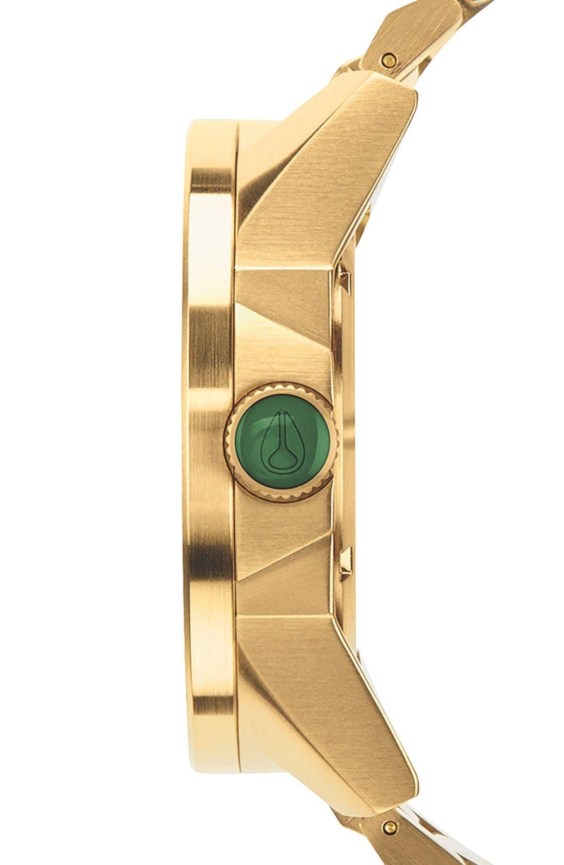 NIXON, The Corporal Bracelet Watch, 48mm, Alternate thumbnail 3, color, GOLD/ GREEN