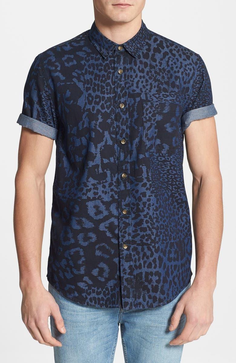 056f0eab2ae6 TOPMAN Classic Fit Mixed Leopard Print Short Sleeve Denim Shirt, Main,  color, 400