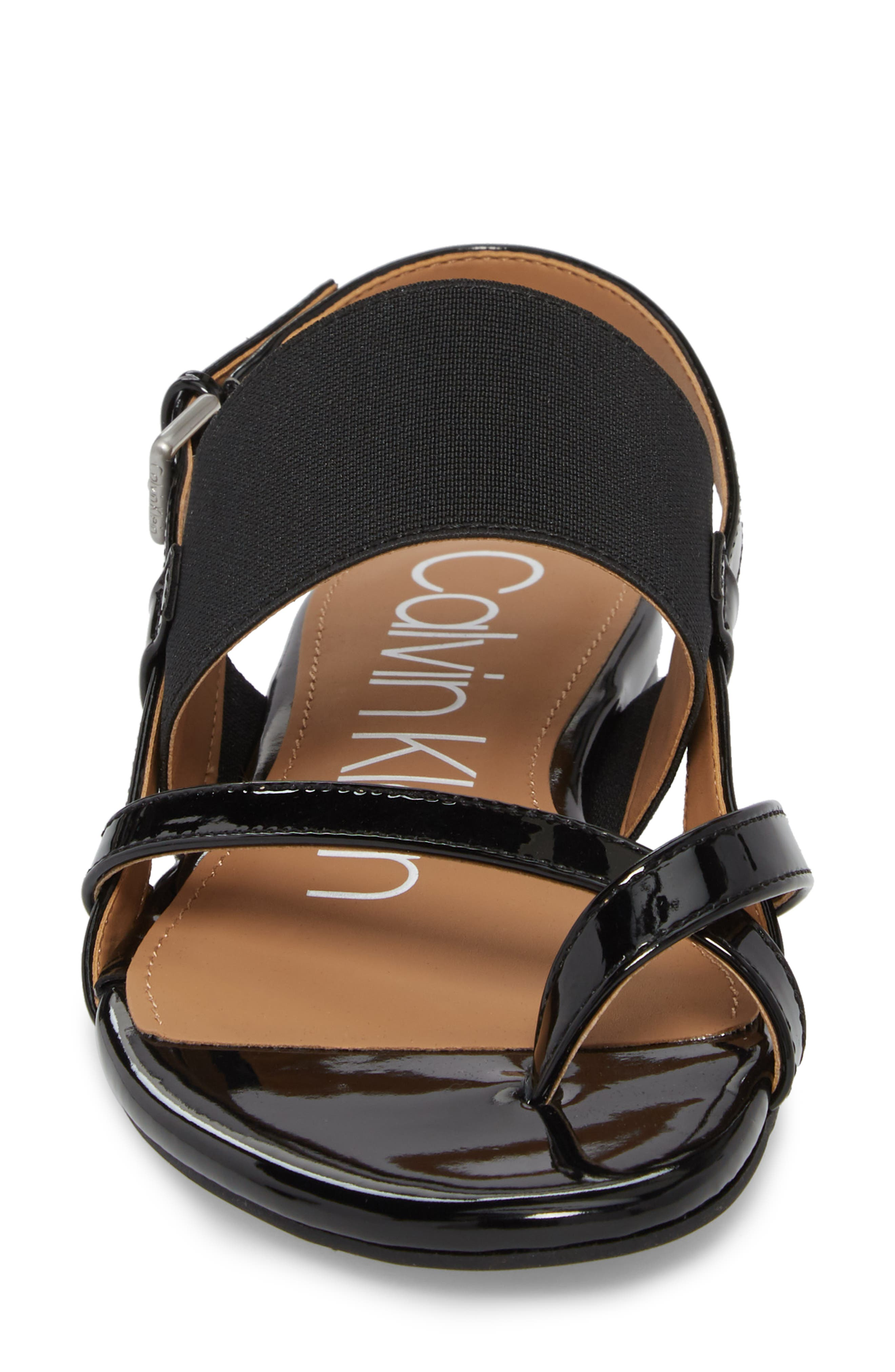CALVIN KLEIN, Berry Sandal, Alternate thumbnail 4, color, 001