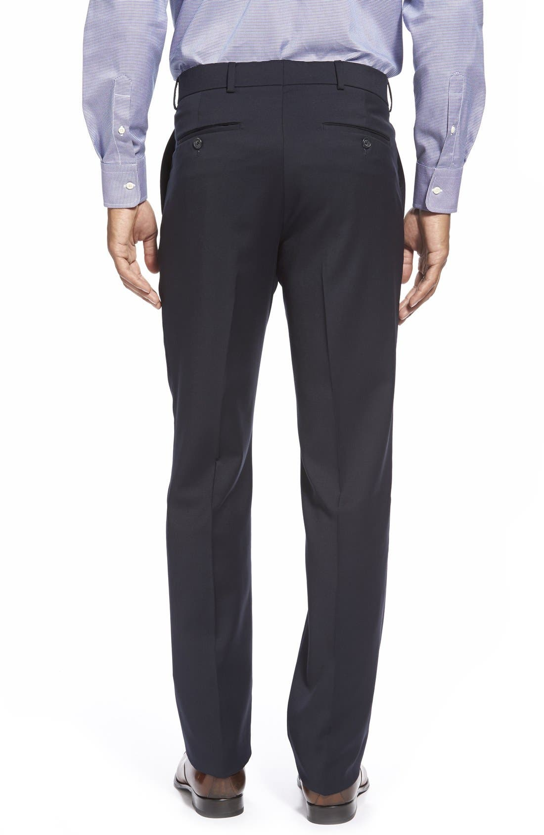 BALLIN, Flat Front Solid Wool Trousers, Alternate thumbnail 3, color, NAVY