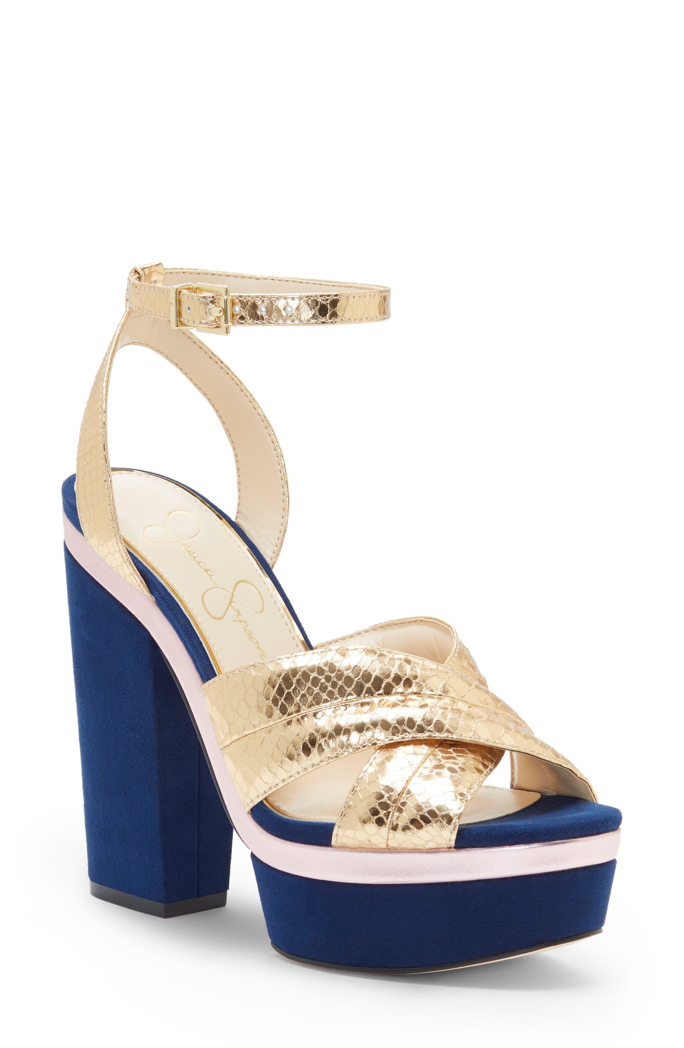 Jessica Simpson Lavada Platform Sandal- Metallic