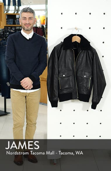 Teddy Leather Jacket with Removable Genuine Lamb Shearling Trim, sales video thumbnail