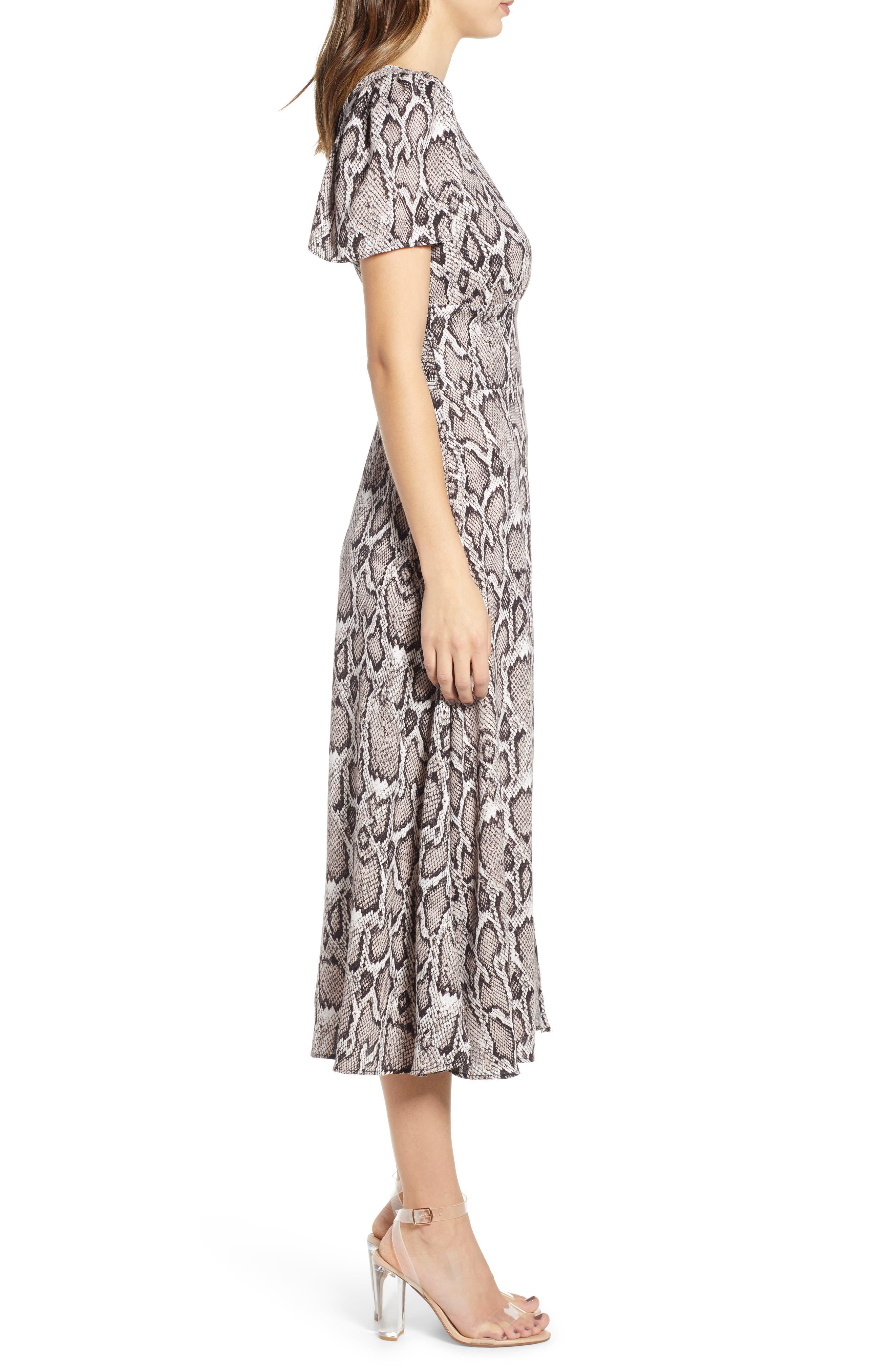 AFRM, Lala Midi Dress, Alternate thumbnail 4, color, SNAKESKIN