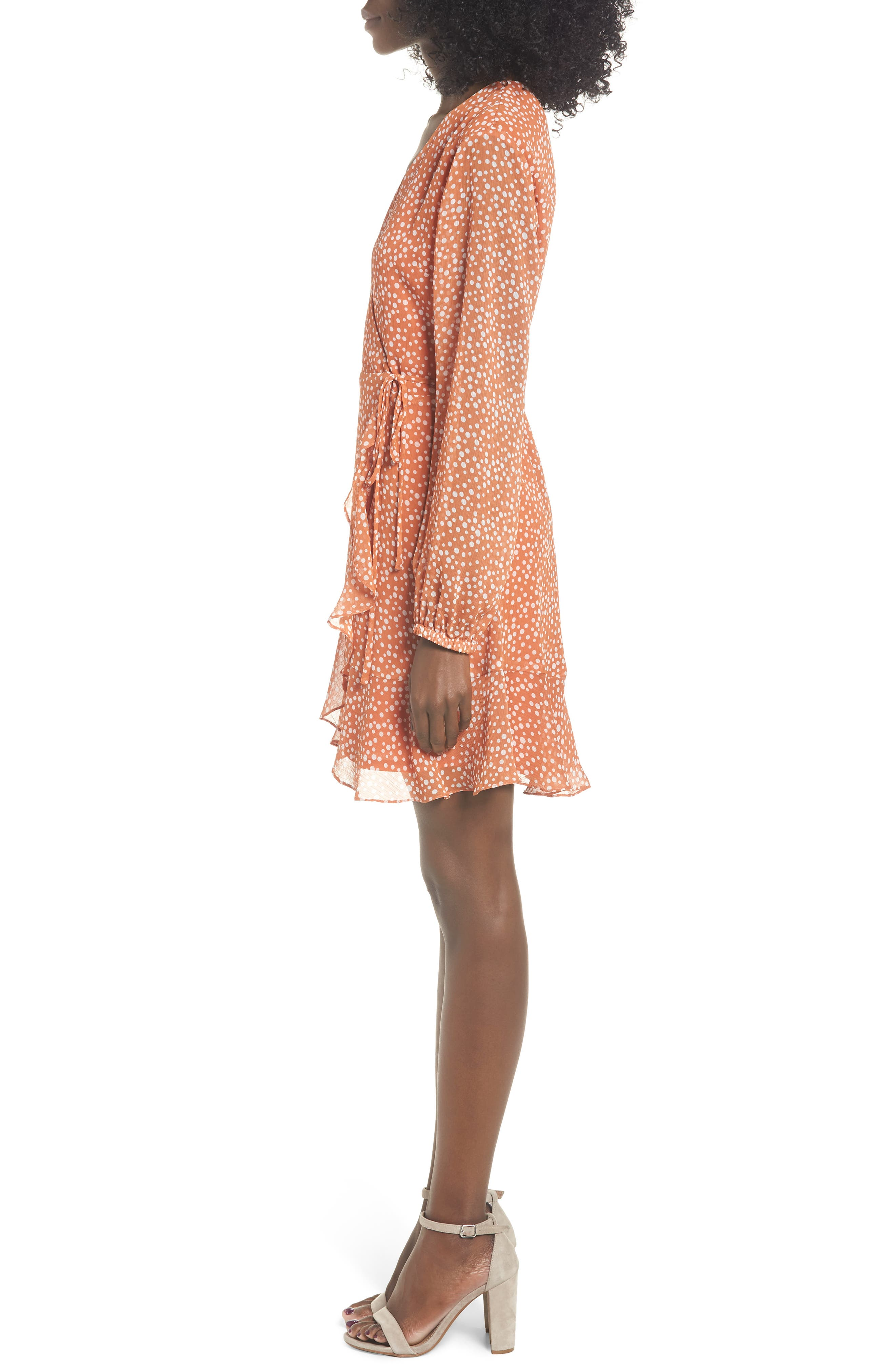 ALL IN FAVOR, Brittany Wrap Minidress, Alternate thumbnail 4, color, RUST DOT