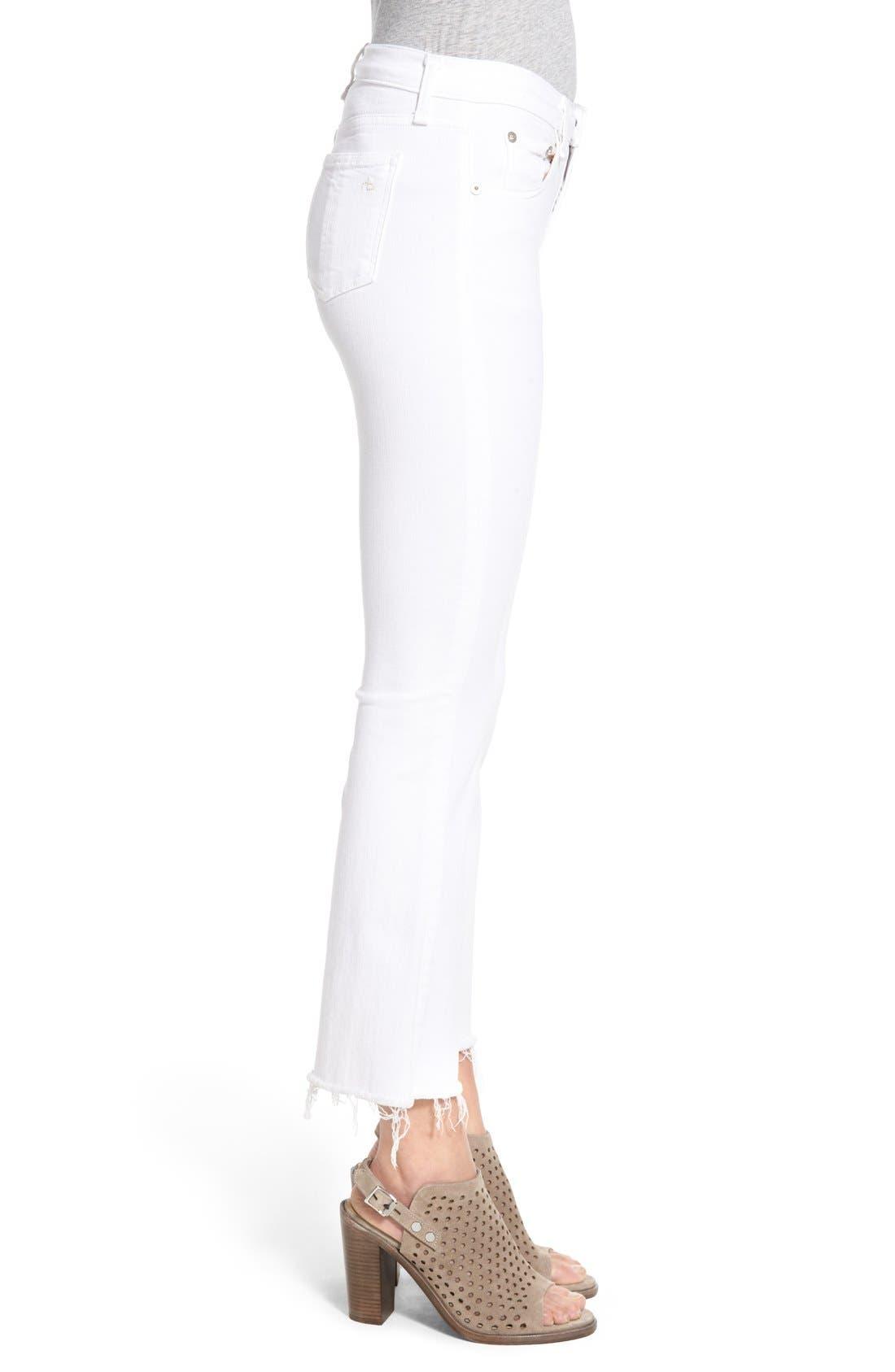 RAG & BONE, High Rise Raw Hem Crop Flare Jeans, Alternate thumbnail 5, color, BRIGHT WHITE